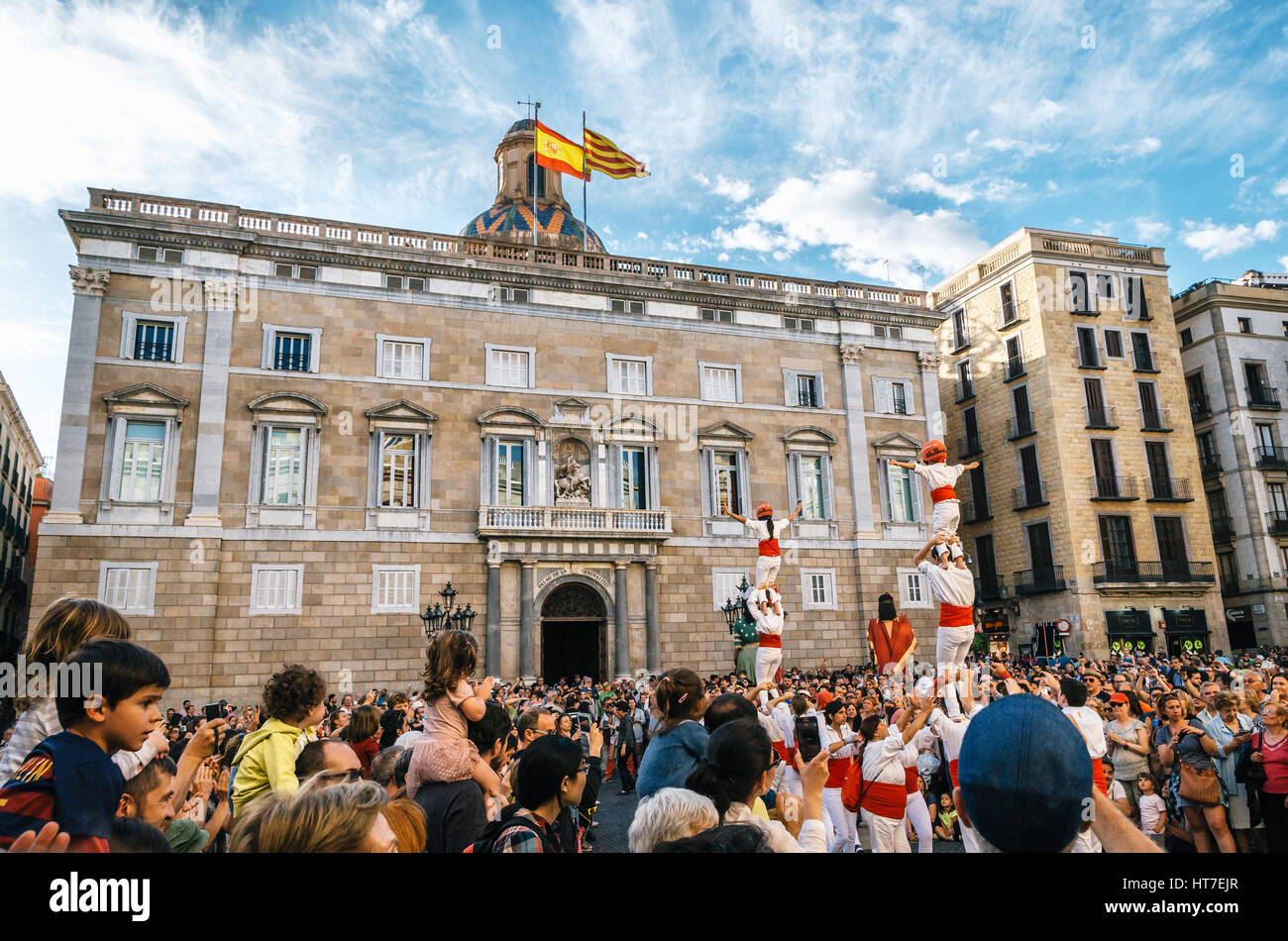 Barcelona, Spain - May 29, 2016: The Castellers de Barcelona of the Corpus Christi festival stand in front of the - Stock Image