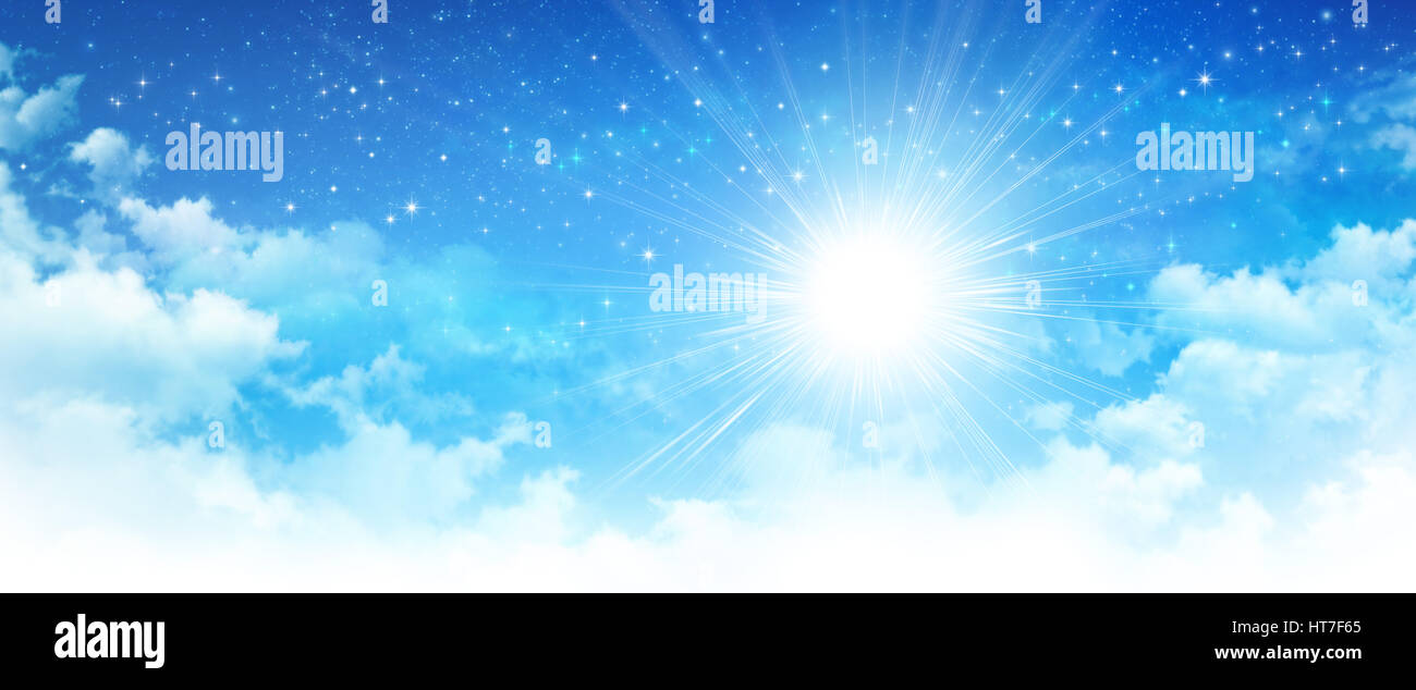 Early morning blue sky, shining sun breaking through white clouds, deep space and bright stars behind. - Stock Image