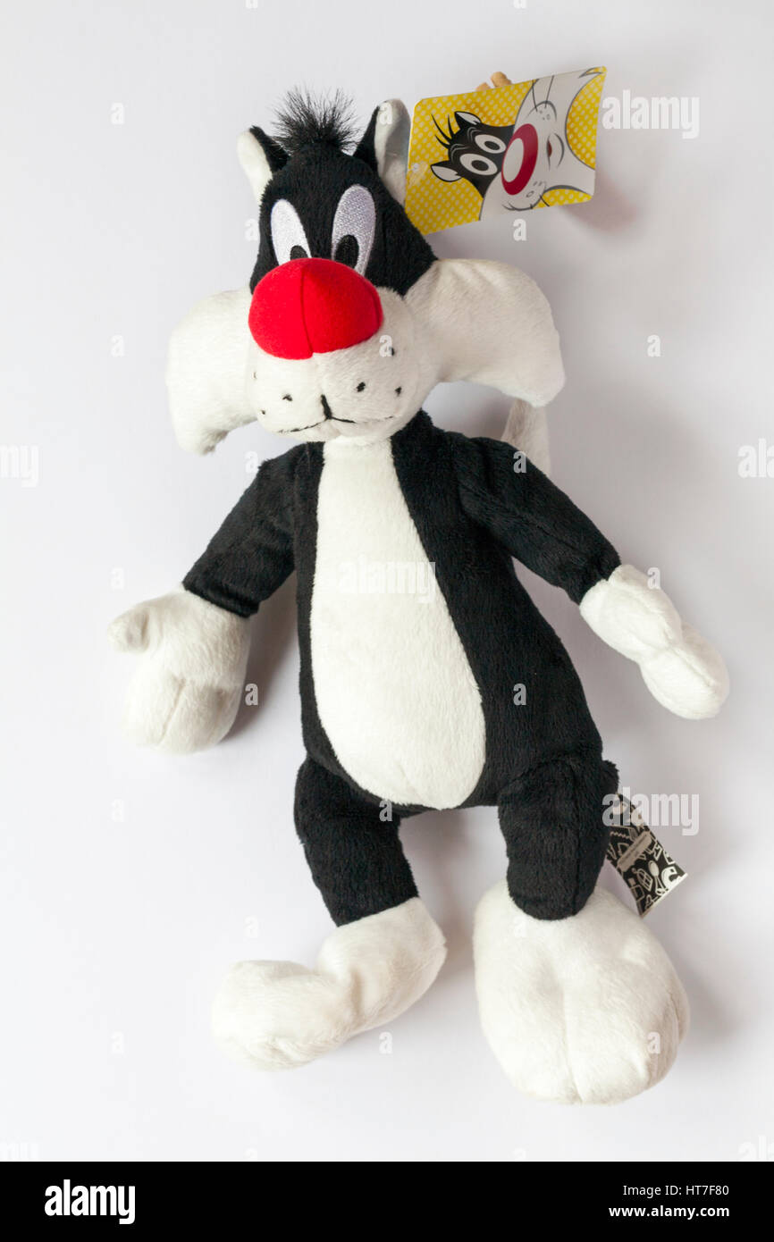 Sylvester the Cat plush soft cuddly toy by Looney Tunes isolated on white background - Stock Image