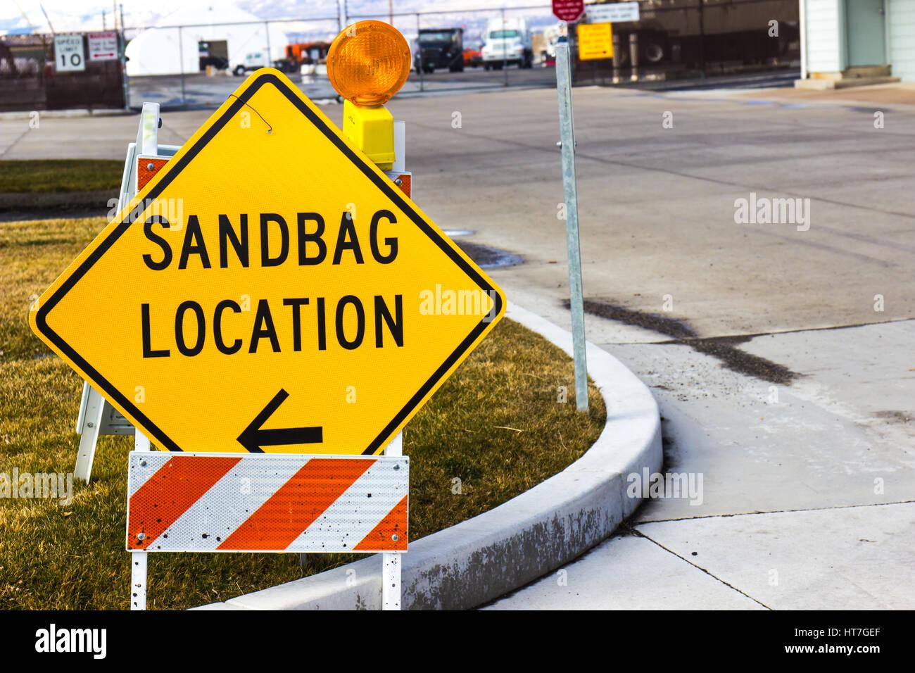 Sandbag Fill Up Location Sign - Stock Image