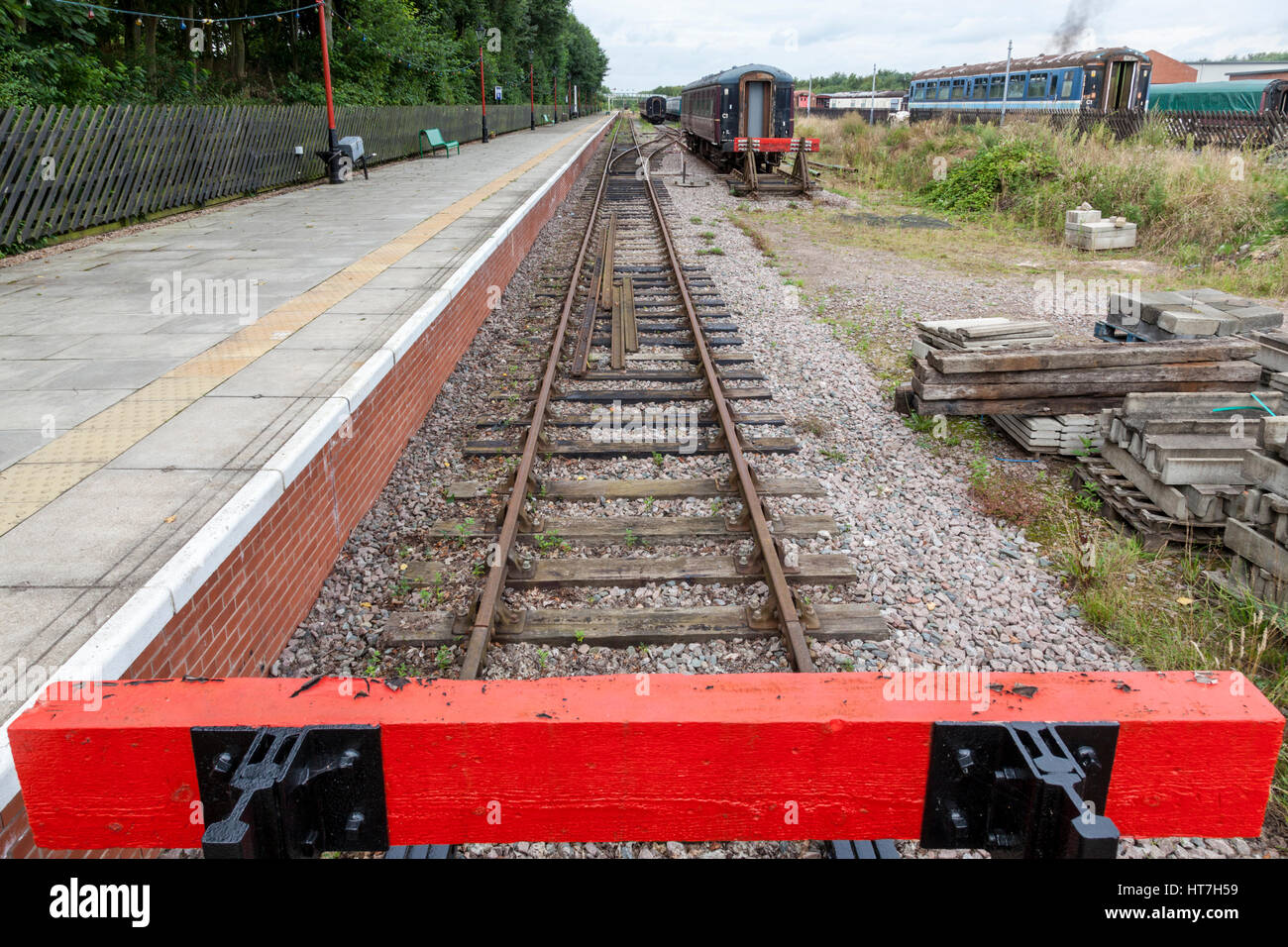 End of the line. Buffers and railway track at Ruddington Fields station, Nottingham Transport Heritage Centre, England, Stock Photo