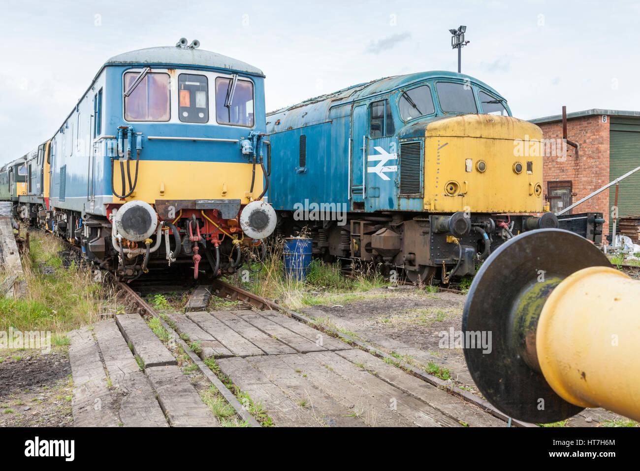 Many old diesel locomotives awaiting restoration at Nottingham Transport Heritage Centre, Ruddington, Nottinghamshire, - Stock Image