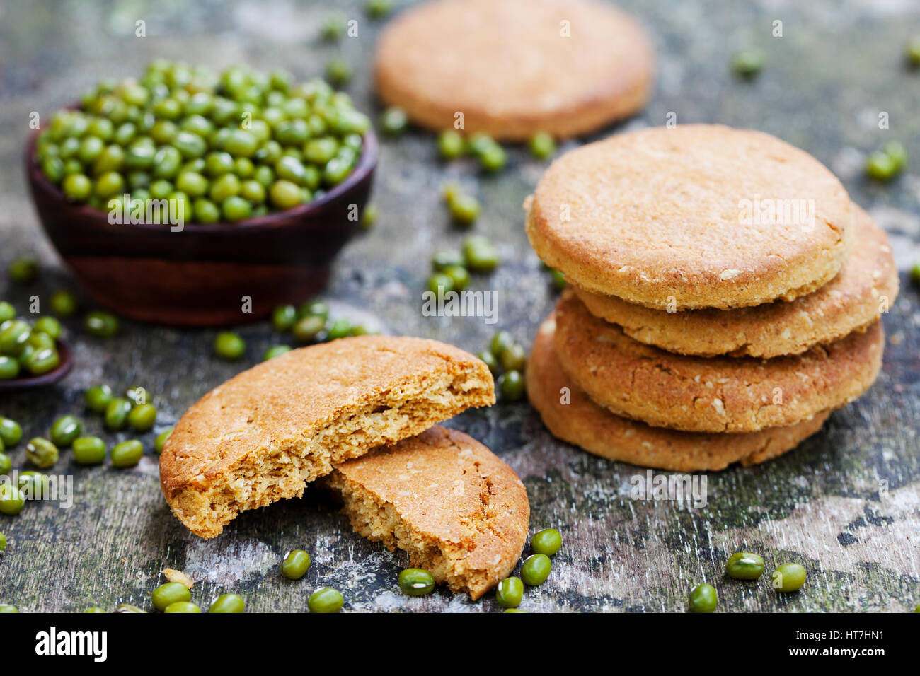 Mung bean cookies, healthy vegan dessert. Stock Photo