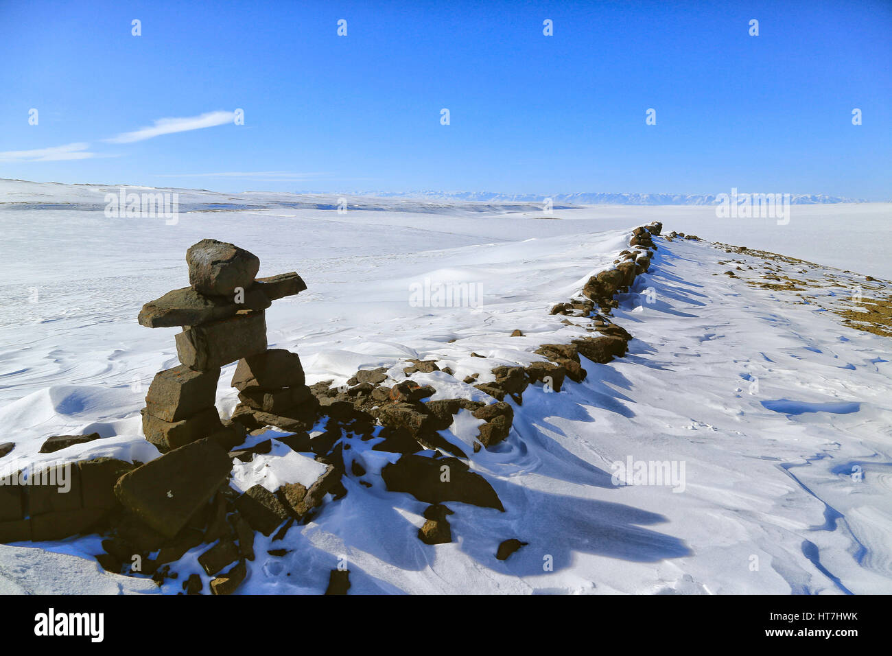 A Rock Cairn Marker Used As A Visual Waypoint By Local Inuit Hunters And By Snowmobile Expeditions - Stock Image
