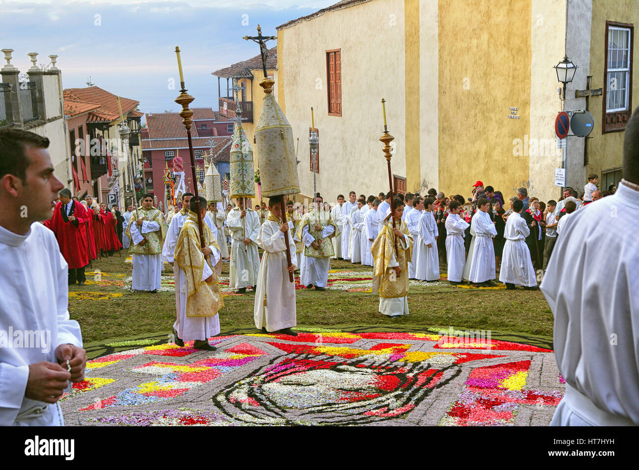 The Procession Is Led By The Bishop Of La Laguna, Diocesan Clergy, Parishes And Brotherhoods From Archpriest, Mayor - Stock Image