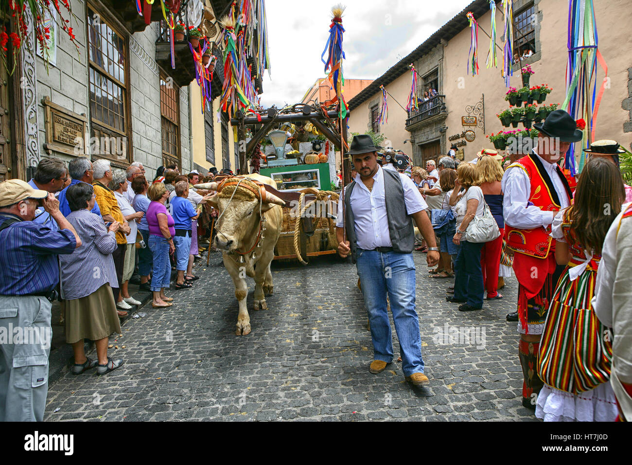 People Wearing Traditional Dress Gathered At Corpus Christi Celebration At La Orotava, Tenerife - Stock Image