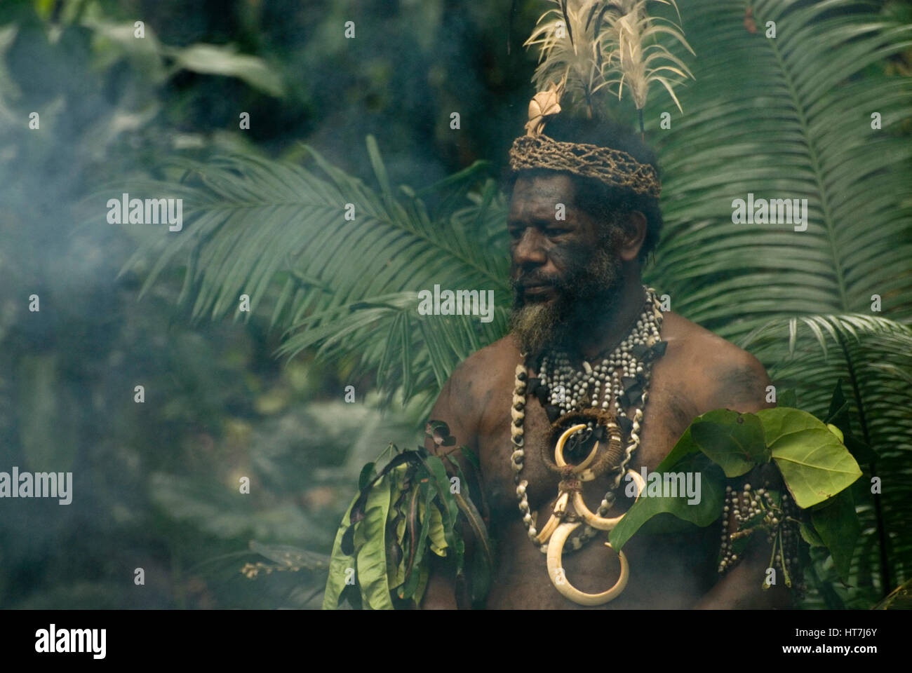 The Chief Of A Kanak Village Participate In A Ceremony - Stock Image