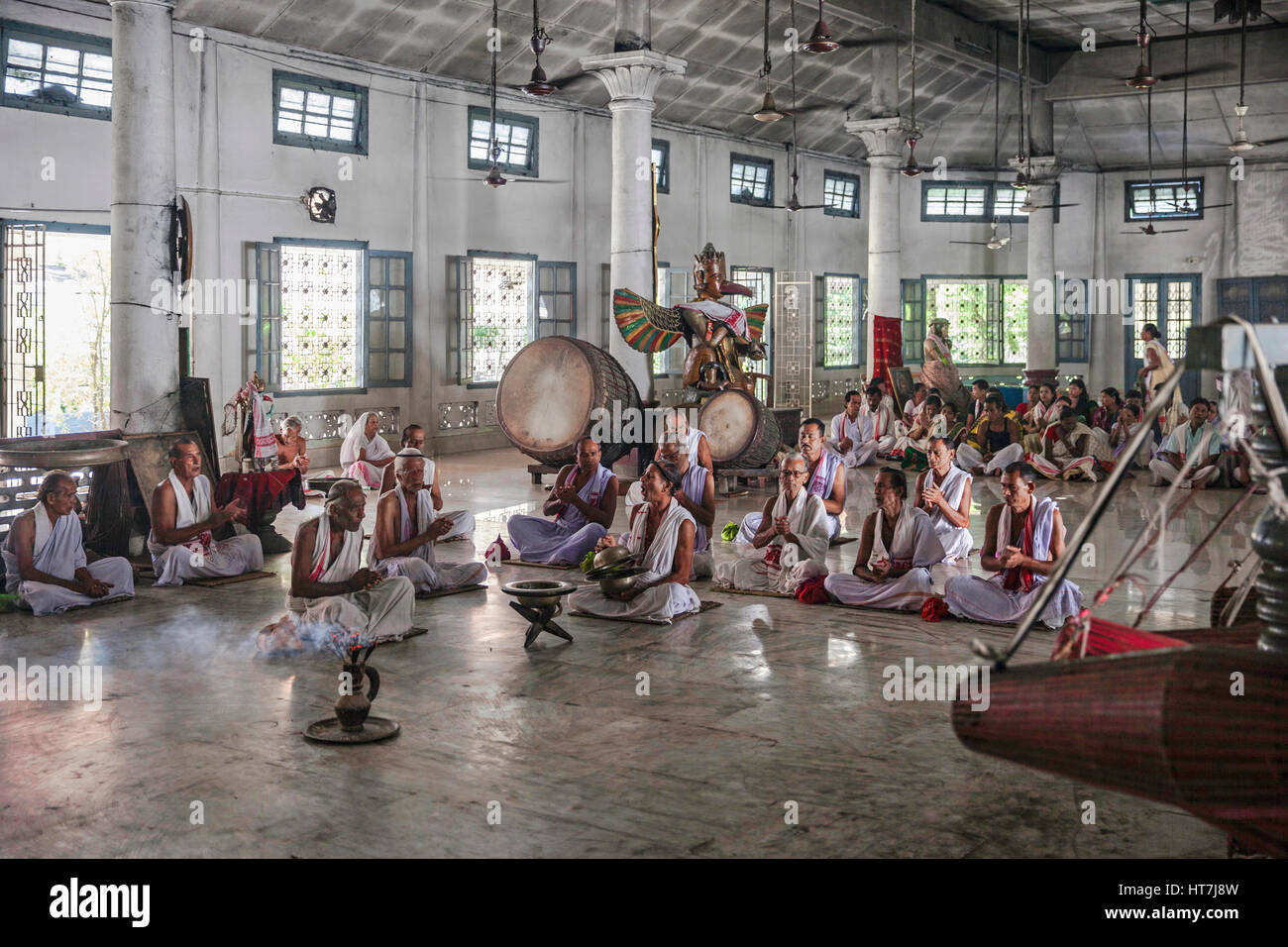 Naamghar Temple Priests Chanting Morning Prayers In Front Of