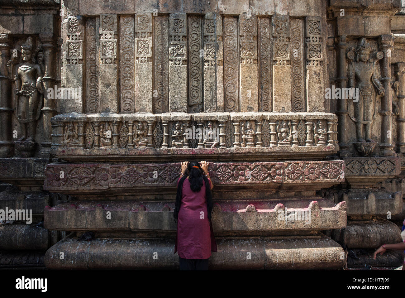 Devotee Bowing To The Kamakhya Temple In Assam, India - Stock Image