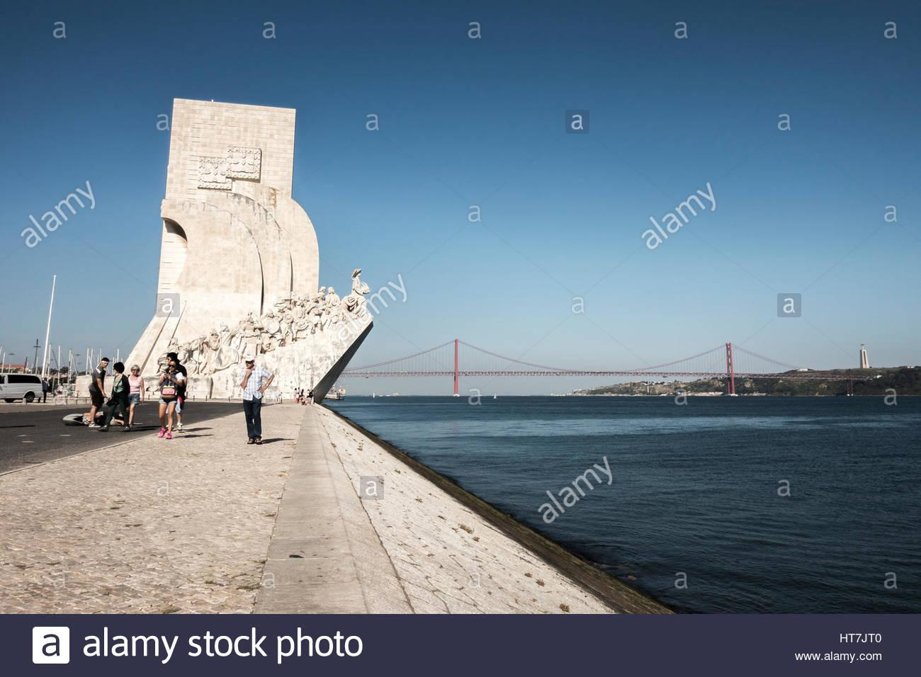 The Discoveries Monument Of Padrao Dos Descobrimentos, Lisbon, Portugal - Stock Image