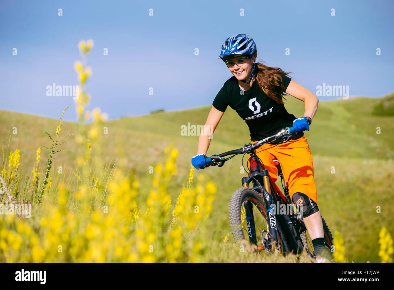 A Woman Biking On The Bonneville Shoreline Trail Stock Photo