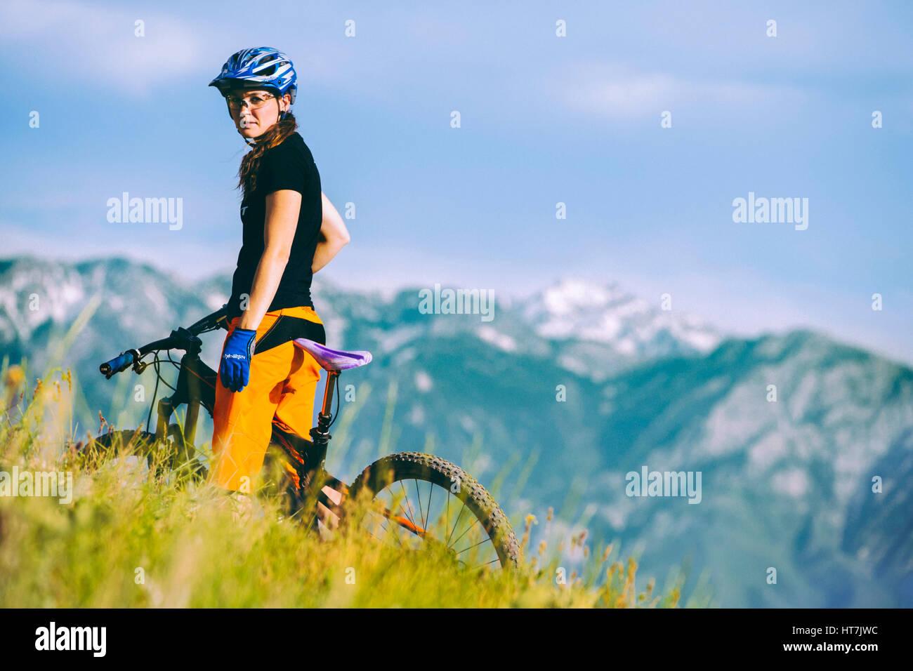 Portrait Of A Female Mountain Biker In Bonneville Shoreline Trail Stock Photo