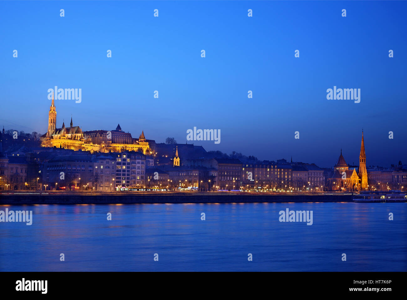 The 'Fisherman's bastion' and Matthias church on the side of Bude, as seen from the side of Pest, Budapest, - Stock Image
