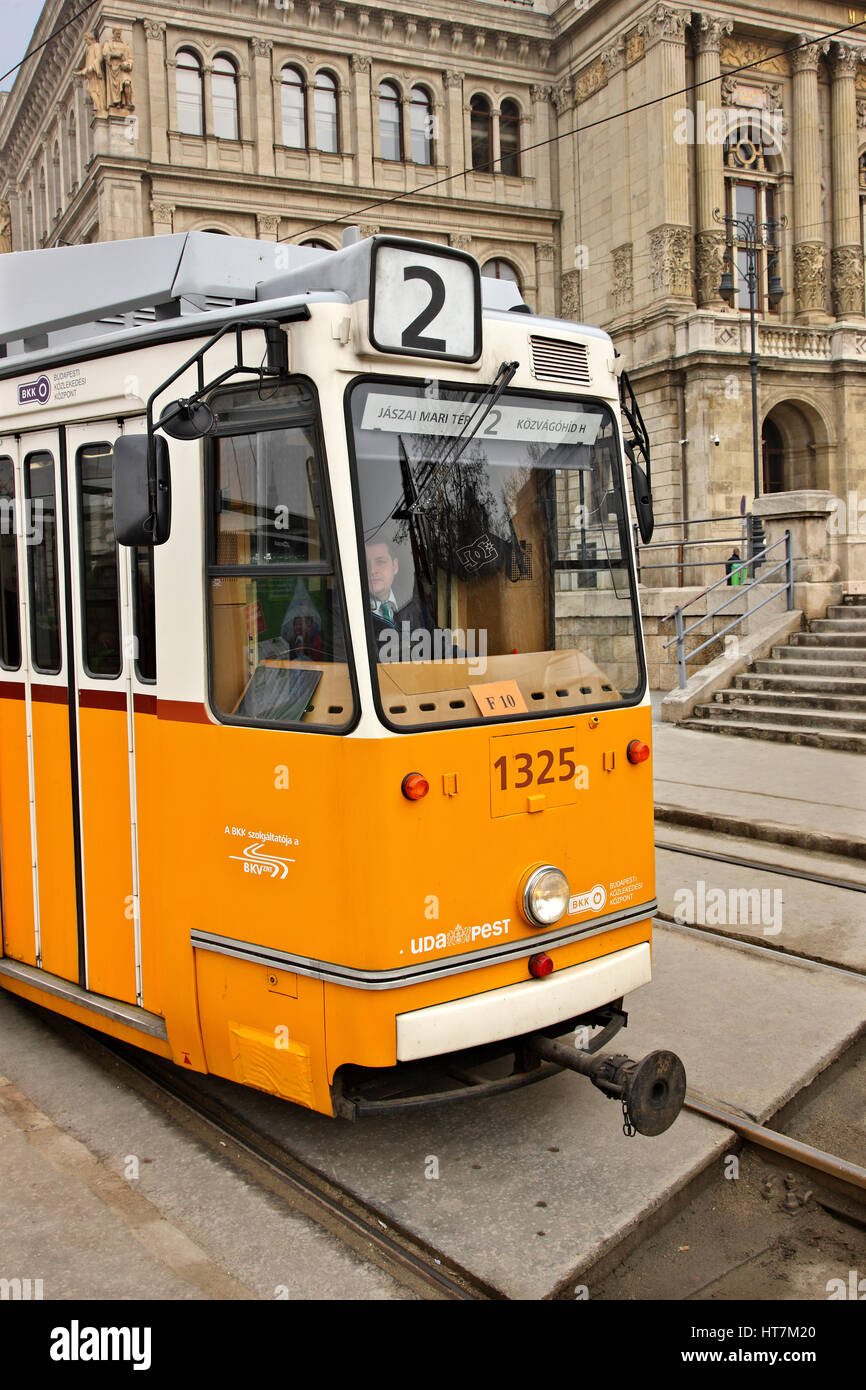 Tram number 2, the most scenic tramline in Europe, according to National Geographic magazine. Budapest, Hungary Stock Photo