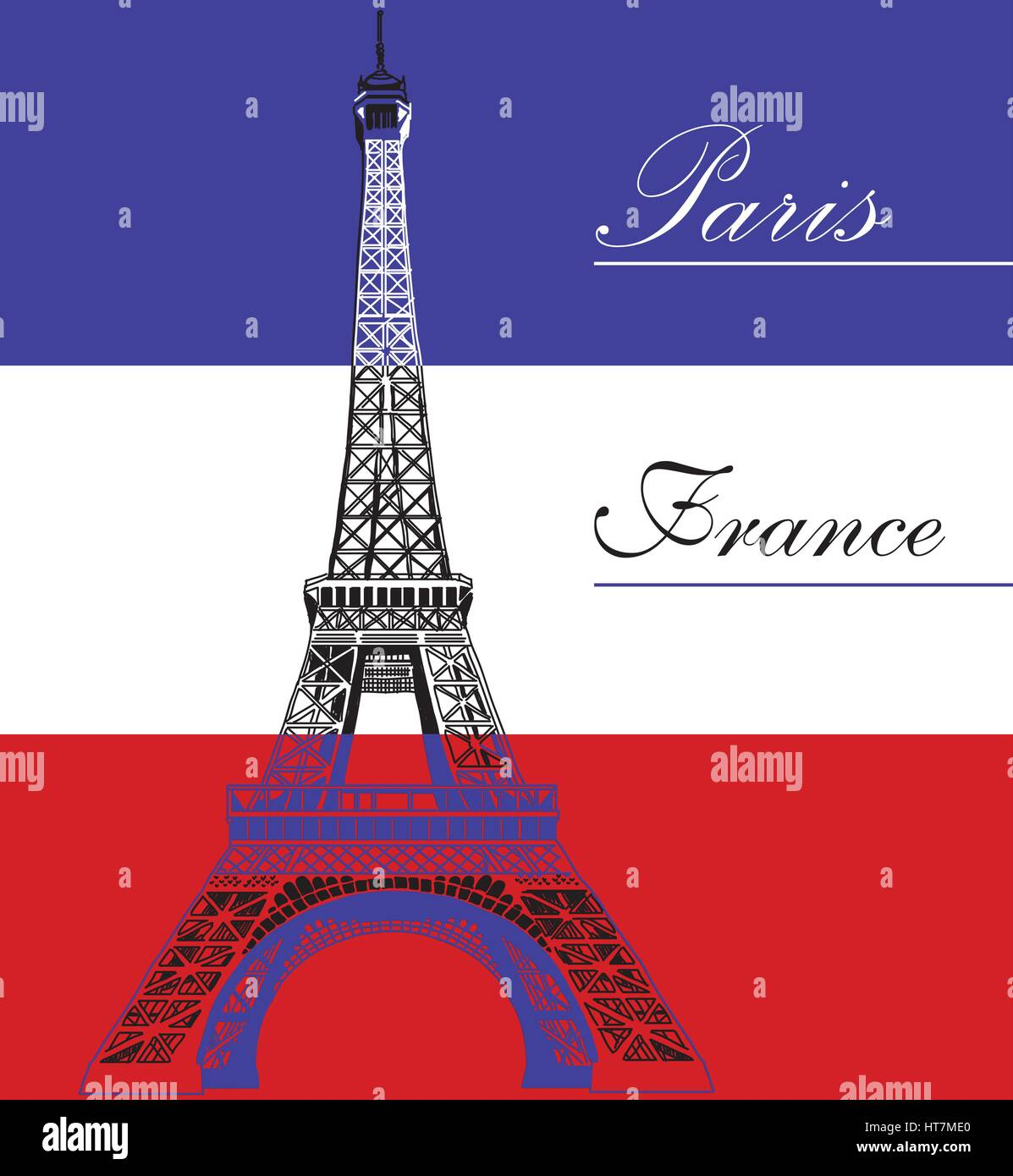 Eiffel tower on French flag background vector illustration - Stock Vector