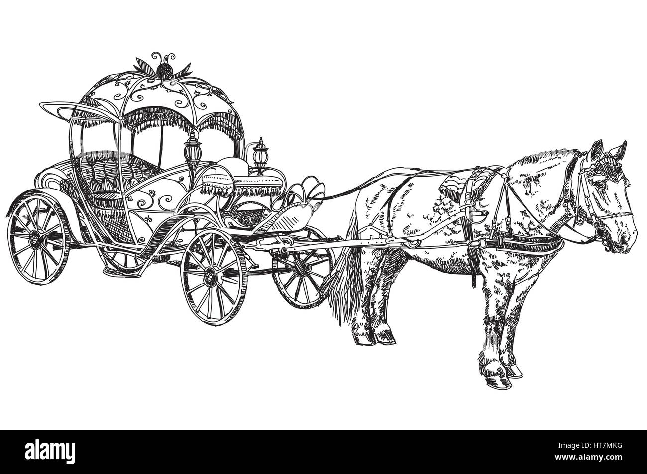 Pencil Drawing Beautiful Carriage With Horse Vector Illustratoin Stock Vector Image Art Alamy