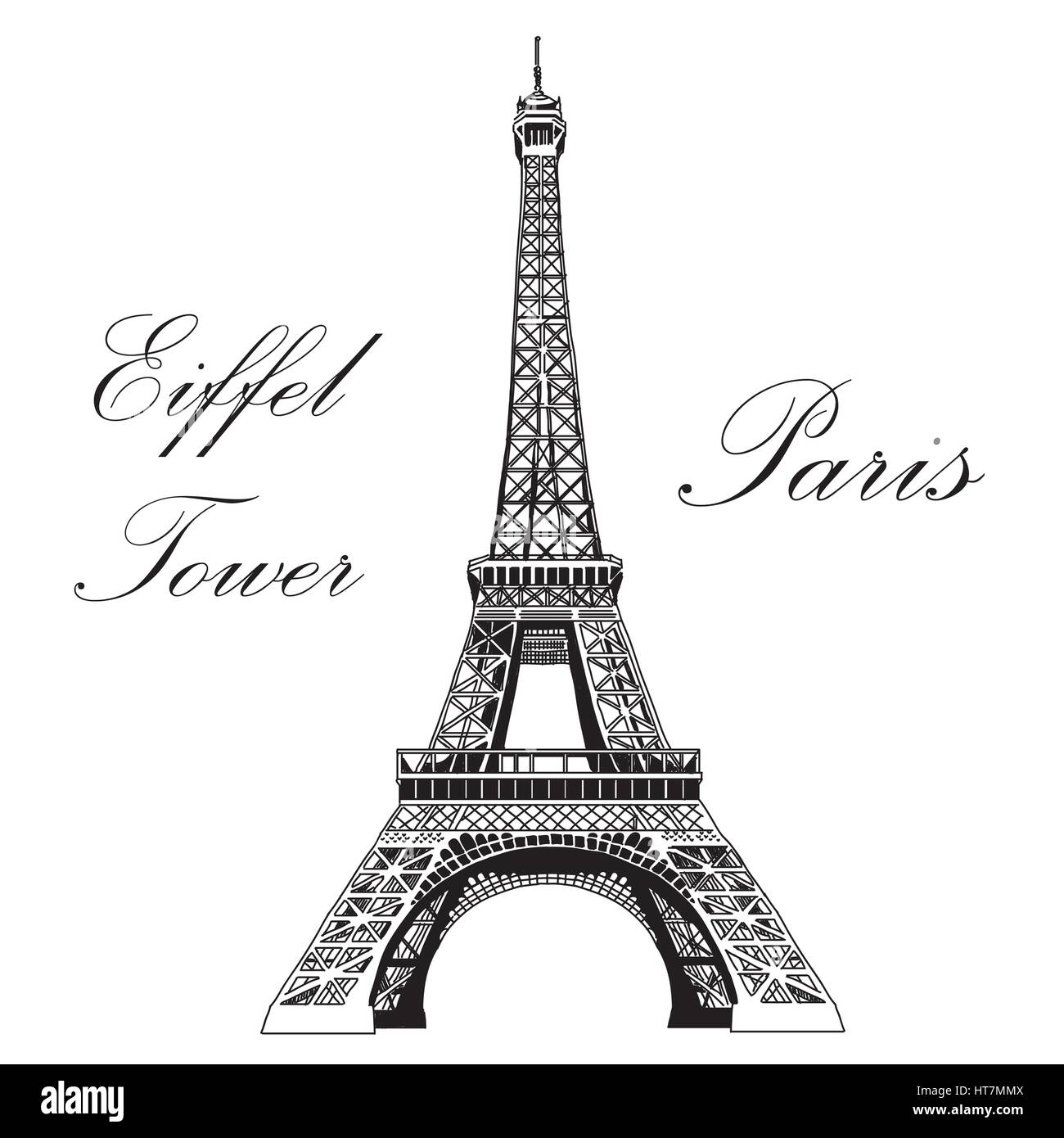 Vector hand drawing illustration black Eiffel tower on white background - Stock Vector