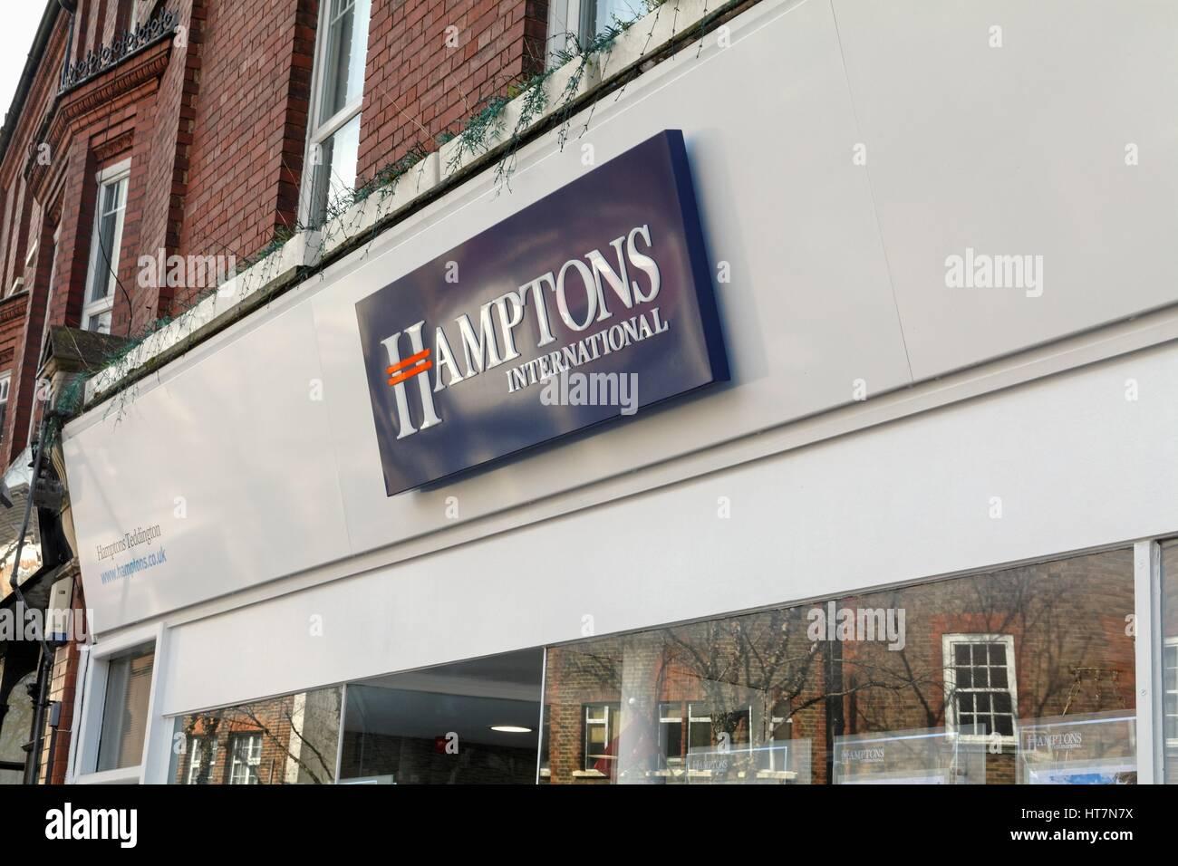 Exterior of Hamptons International estate agents in Teddington  west London UK - Stock Image