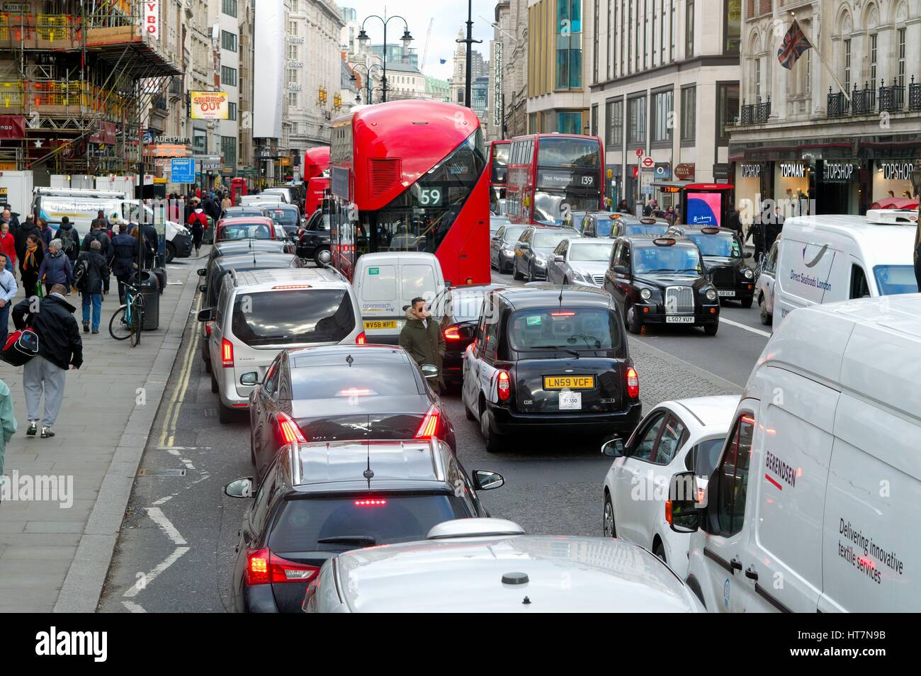 Traffic at a standstill on The Strand central London UK - Stock Image