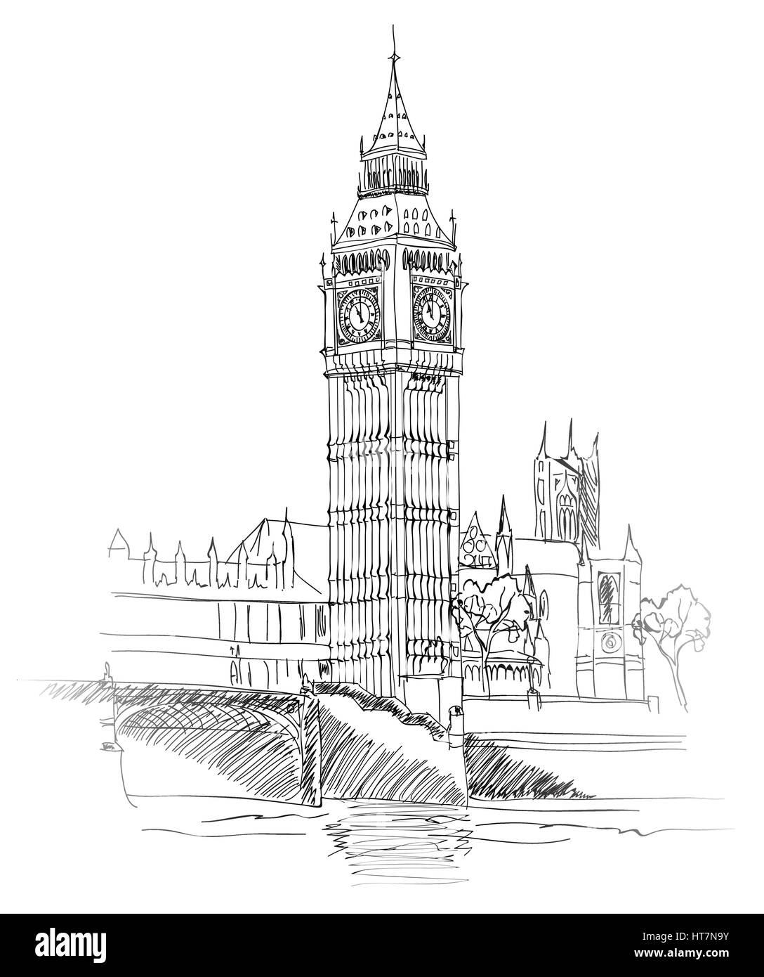 London Landmark. Landscape of London. Big Ben Tower. Vector Hand-drawn Sketch Illustration. - Stock Image