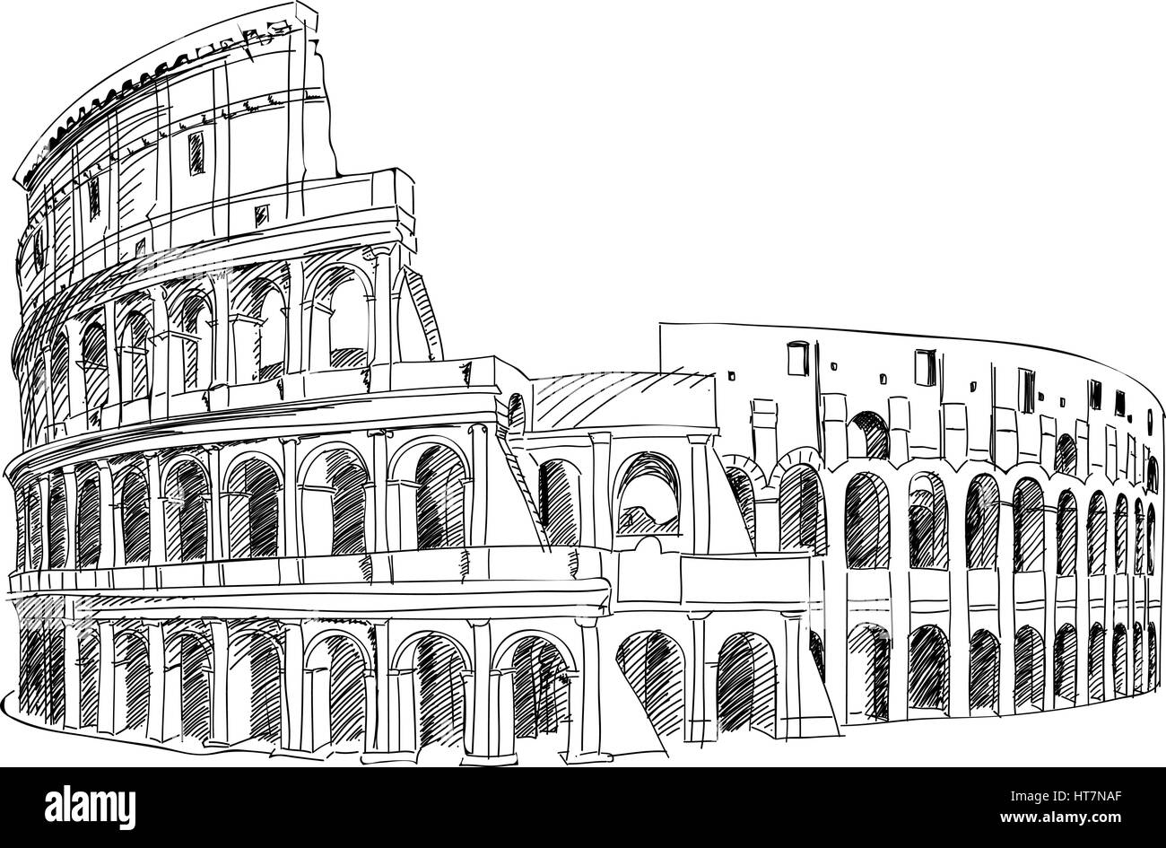 Coliseum In Rome Italy Colosseum Hand Drawn Vector Illustration
