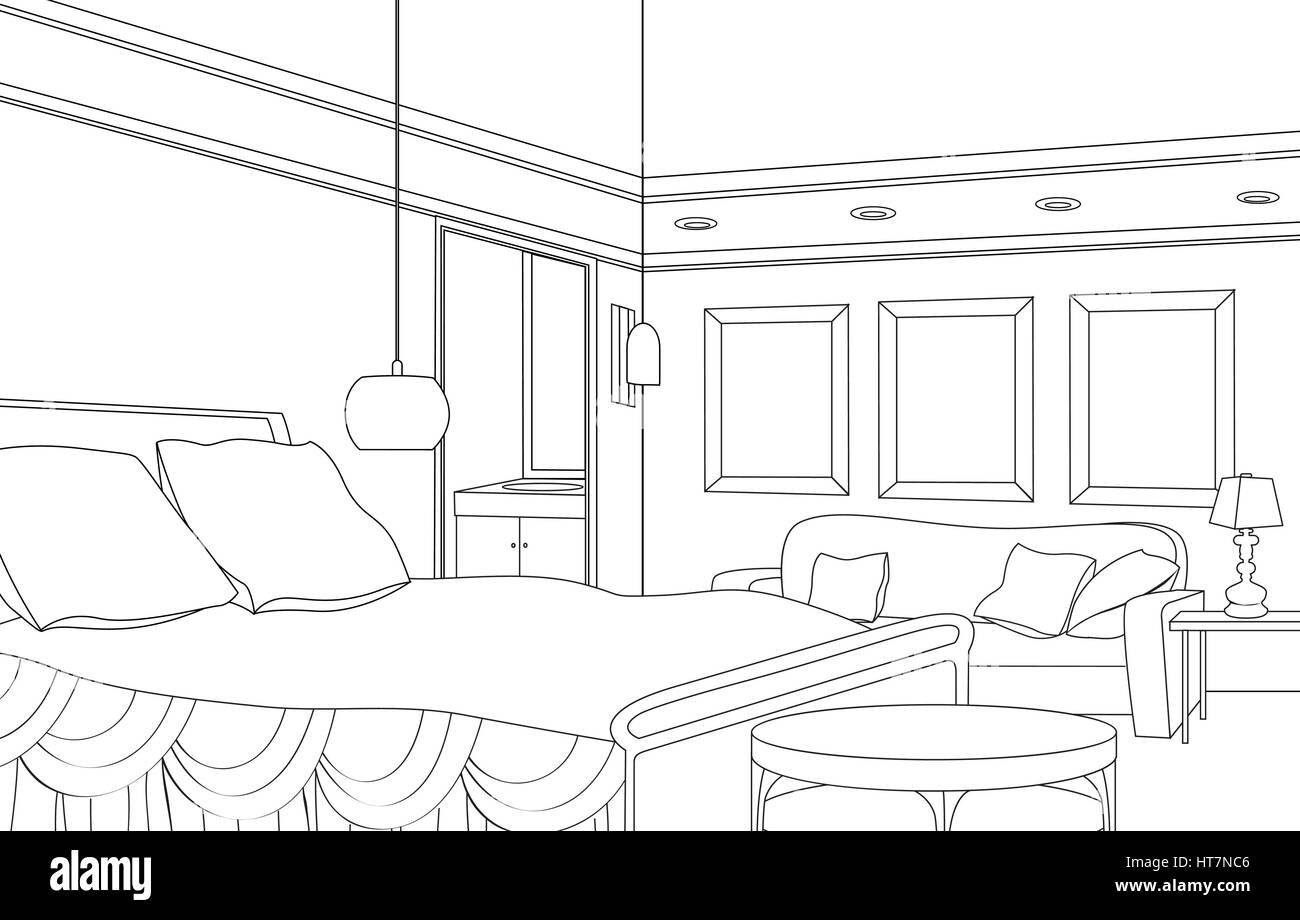 Bedroom Furniture. Retro Style Room. Editable Outline Sketch Of A Interior.  Graphical Interior.