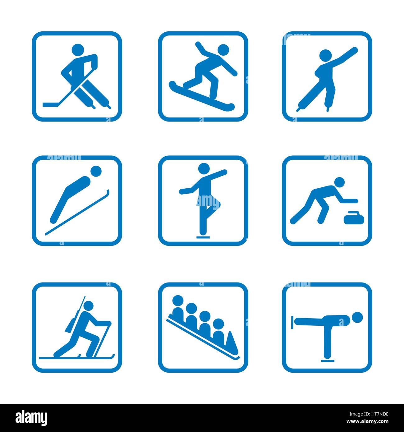 Winter sport icon Set. Winter Olympic club signs, fitness exercises - Stock Vector