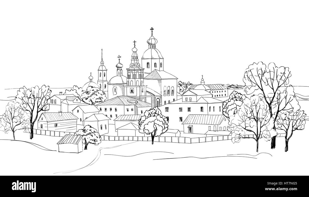 Old russian town landscape hand drawn vector illustration. Suzdal Kremlin. View of Suzdal cityscape. The Golden - Stock Vector