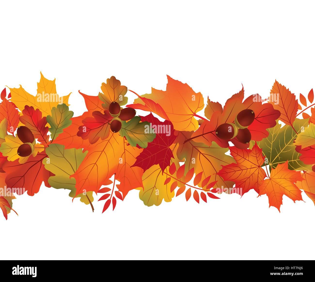 fall seamless border autumn leaves background season flora decor