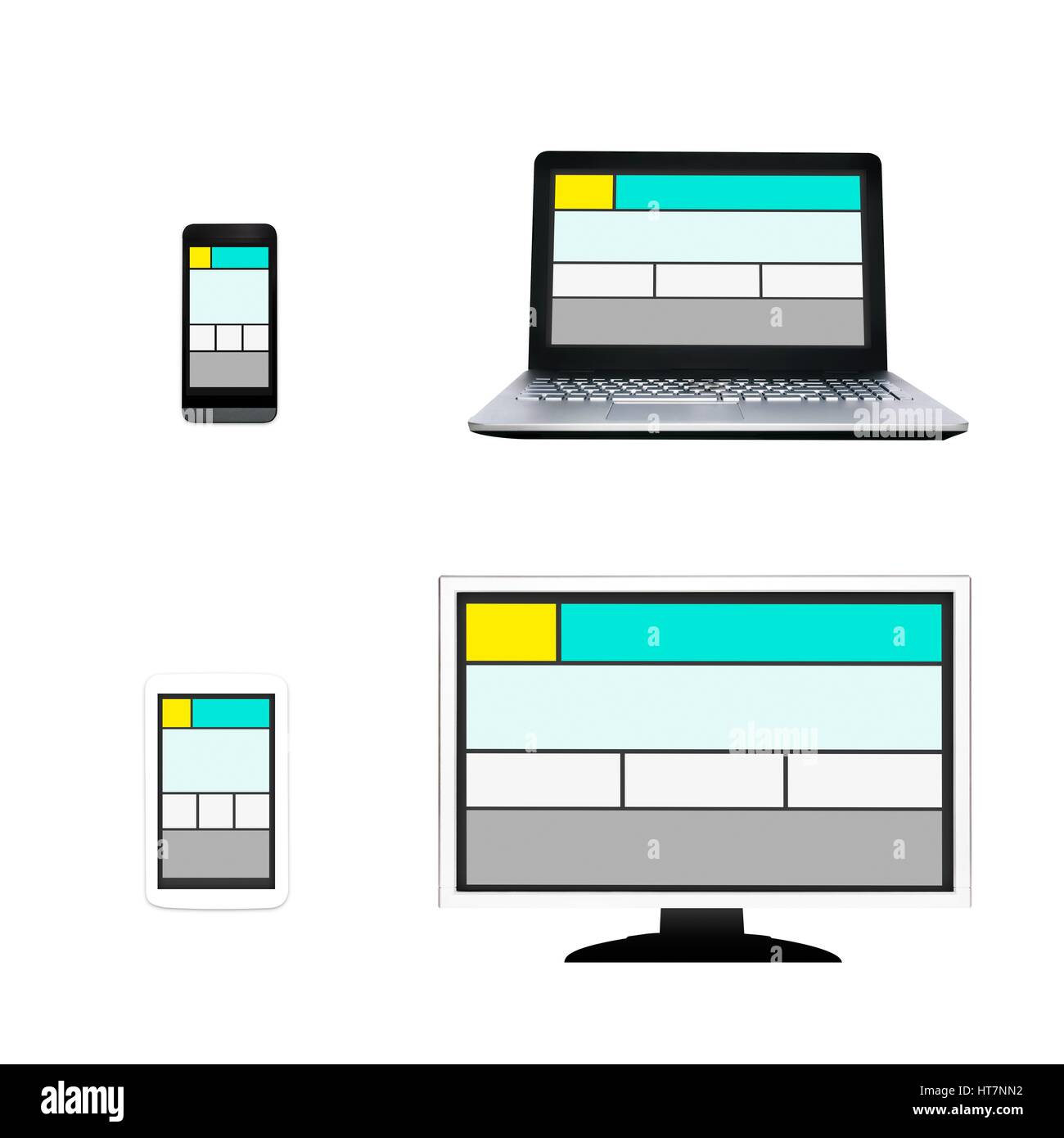Responsive web design layout on different devices. Set on white background - Stock Image