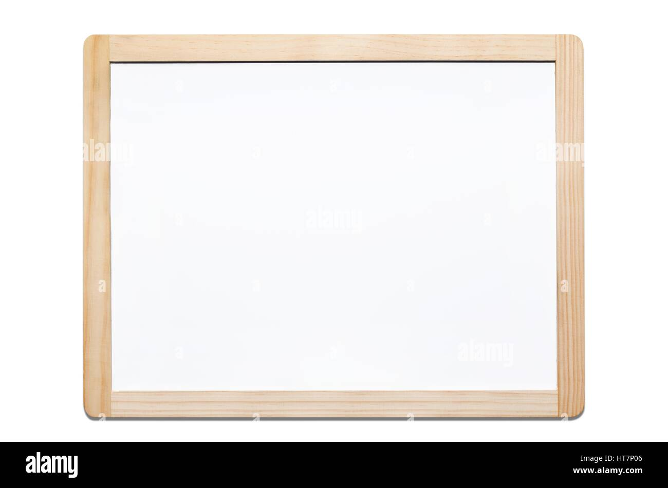 Magnetic whiteboard isolated on white background with wooden frame ...