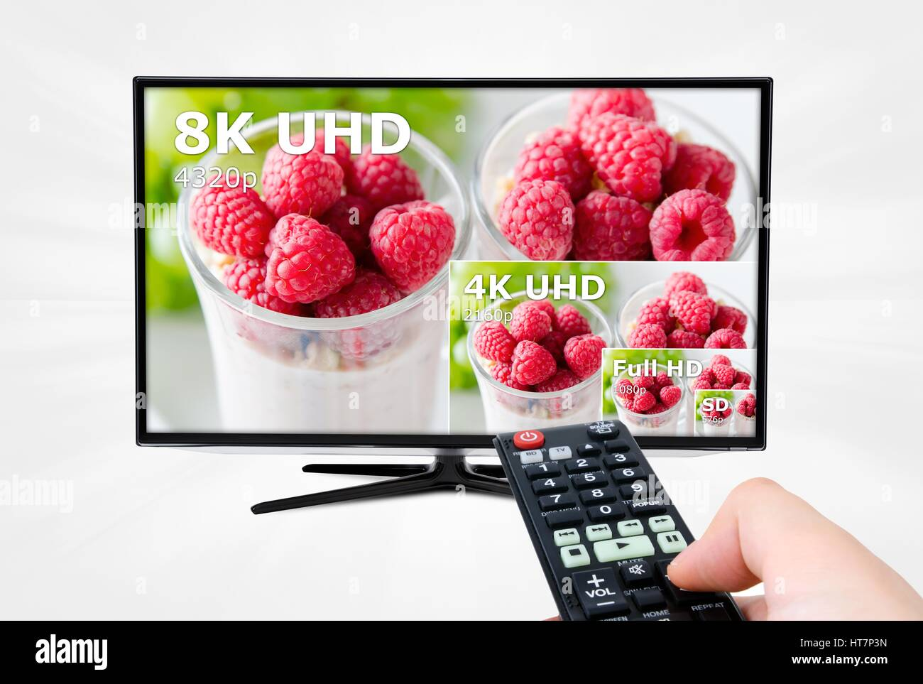 TV ultra HD. 8K 4320p television resolution technology - Stock Image