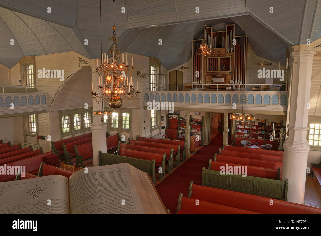 Inside church in Arjeplog, Laponia, northern Sweden - Stock Image