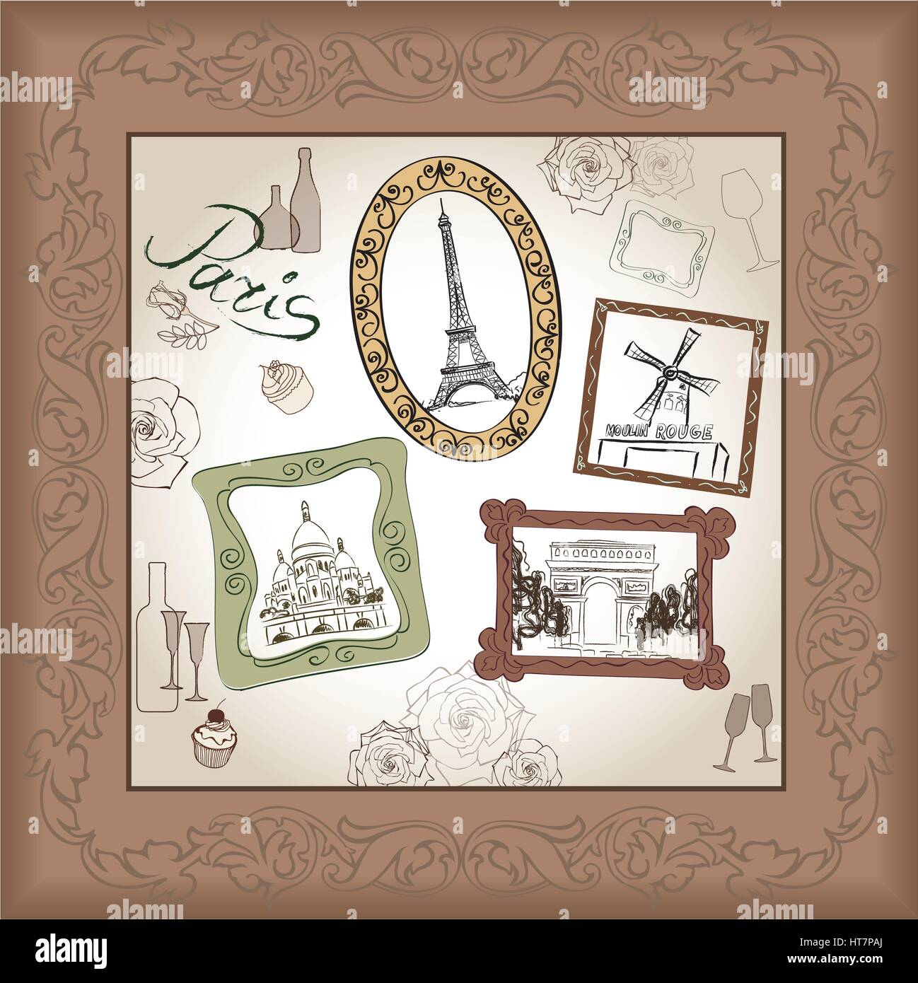 Paris city landmark Eiffel Tower and handwritten lettering PARIS pattern. Travel France famous place floral tile - Stock Vector