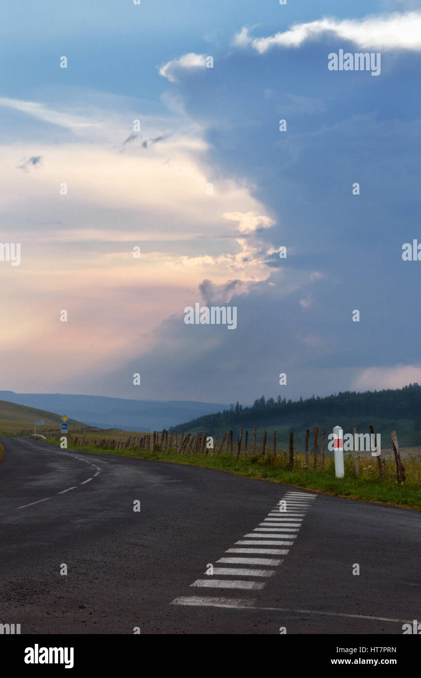 Storm and rain, on the horizon in the mountains. - Stock Image