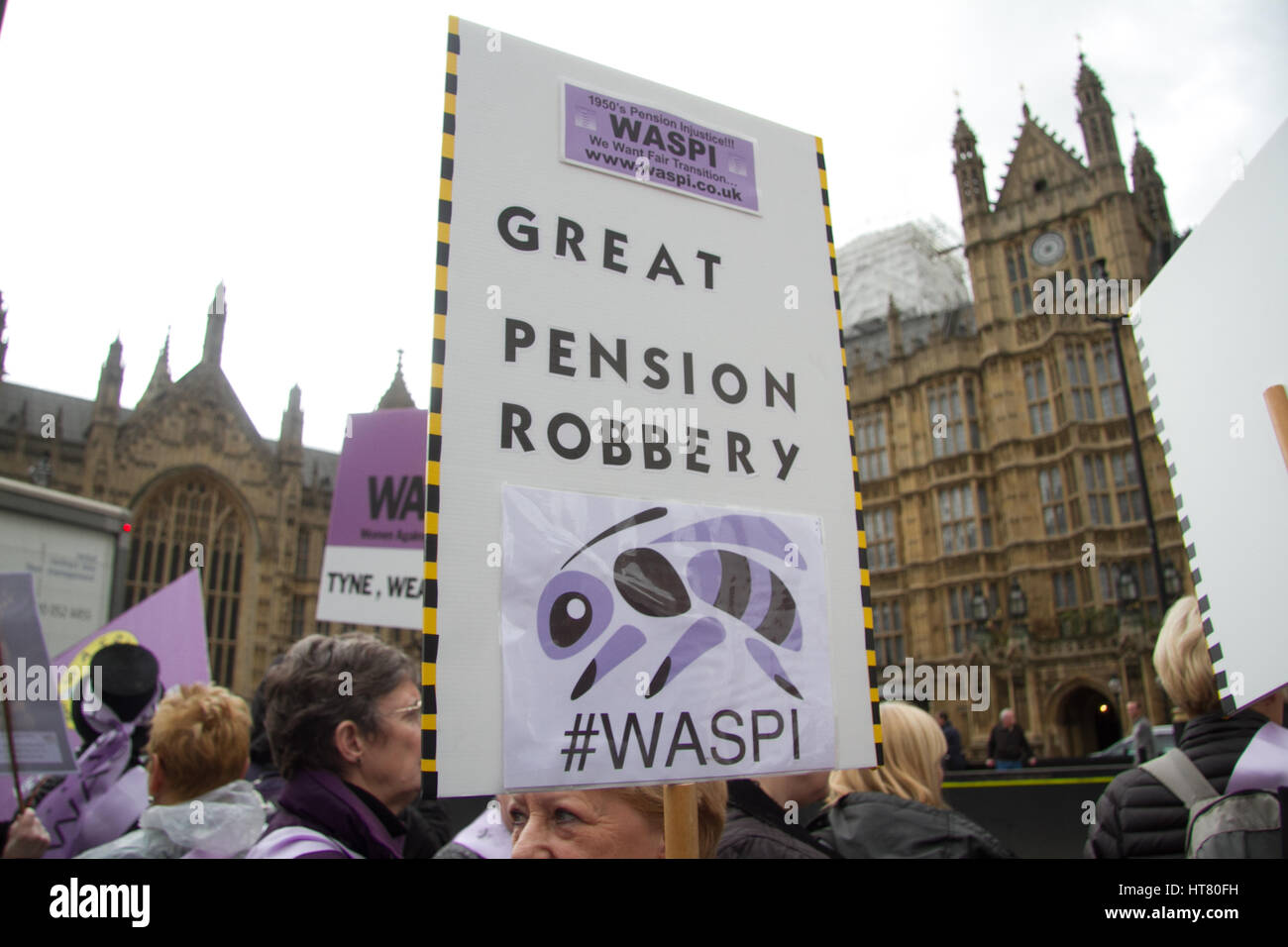 London UK. 8th March Hundreds of women from WASPI Women Against State Pension Inequality dressed in traditional - Stock Image