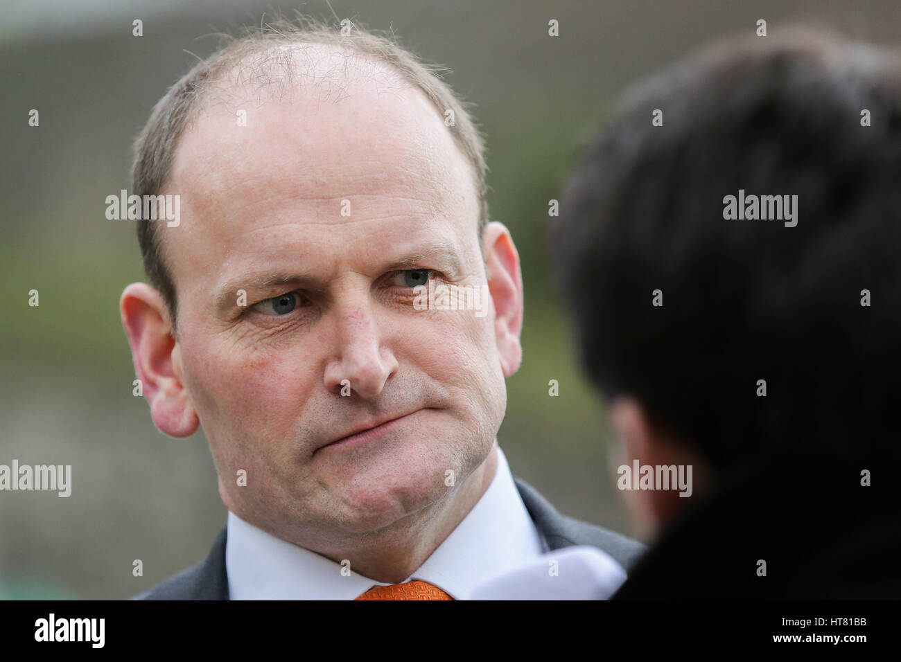 College Green, London, UK 8 Mar 2017 - Douglas Carswell MP on College Green giving media interviews on Budget Day. - Stock Image