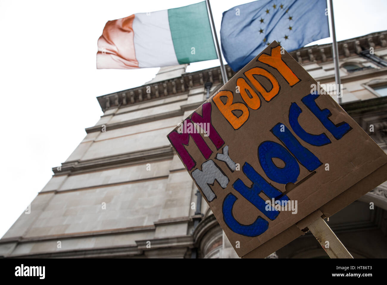 London, UK. 8th Mar, 2017. A sign used by activists from the London-Irish Abortion Rights Campaign protesting outside Stock Photo