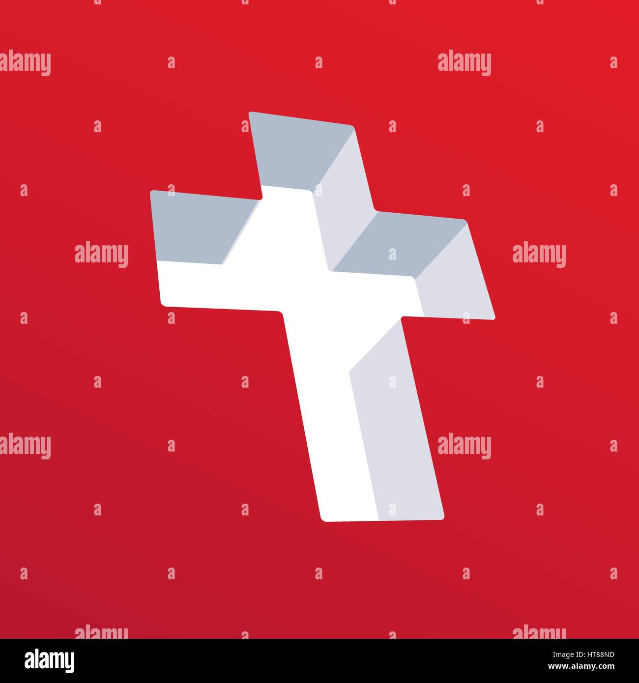 Symbolism Of Christianity Cross On A Red Background Stock Vector