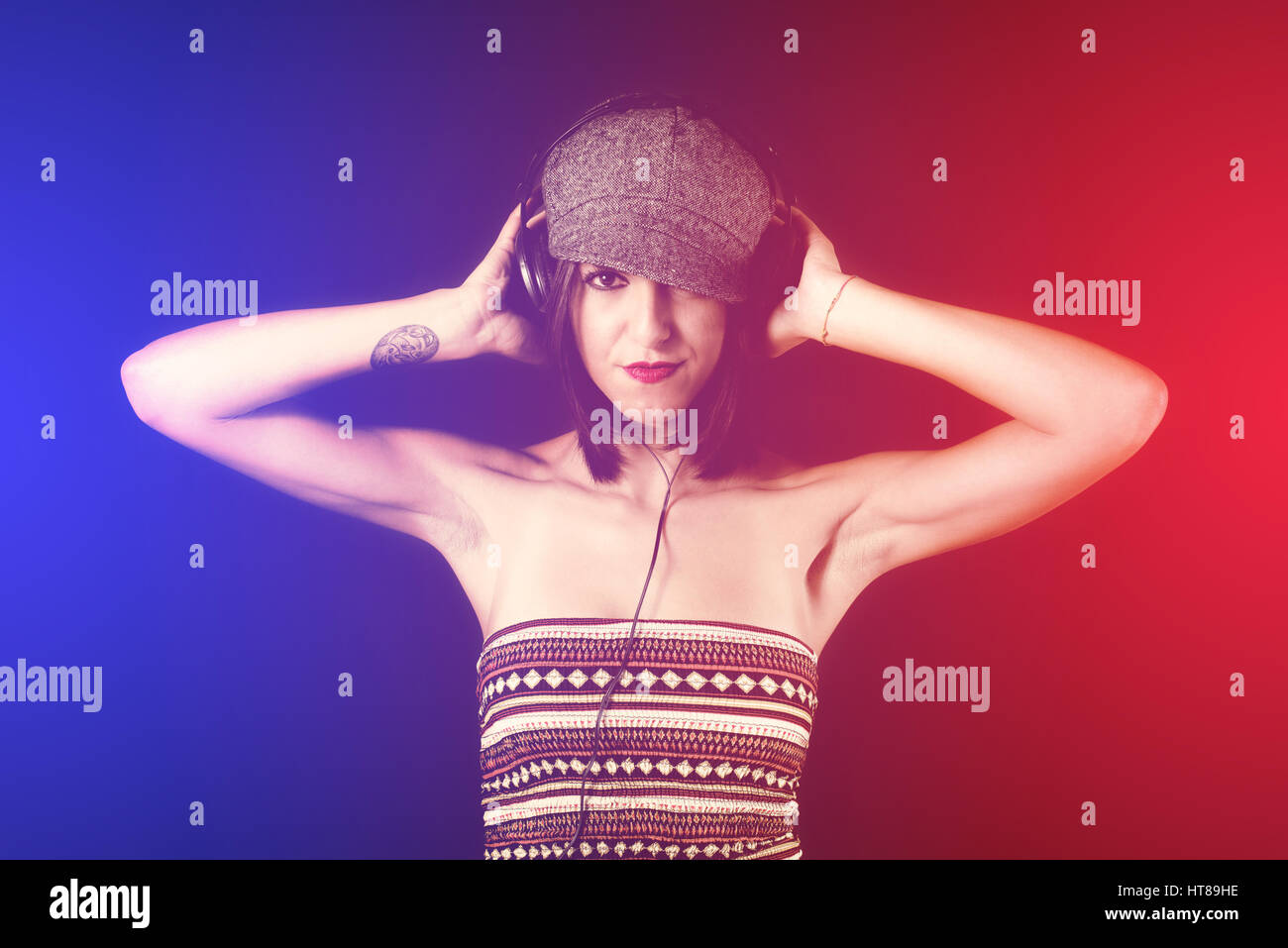 disco music woman dj - Stock Image
