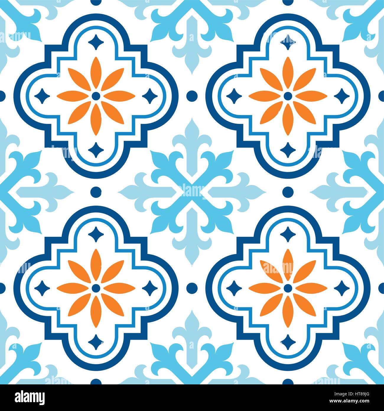 Spanish tile pattern, Moroccan tiles design, seamless blue and ...