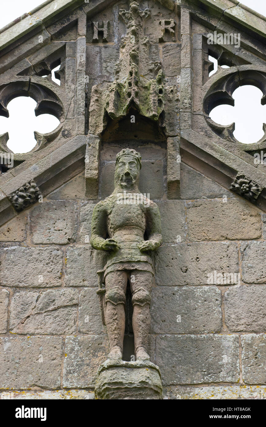 Staute of Henry IV on St Mary Magdalene's Church at Battlefield, Shrewsbury, Shropshire. Stock Photo