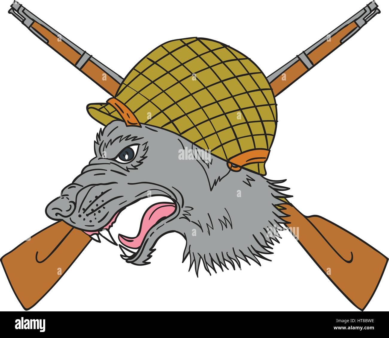 Drawing sketch style illustration of a grey wolf head wearing world war two helmet with crossed rifles in the background - Stock Vector