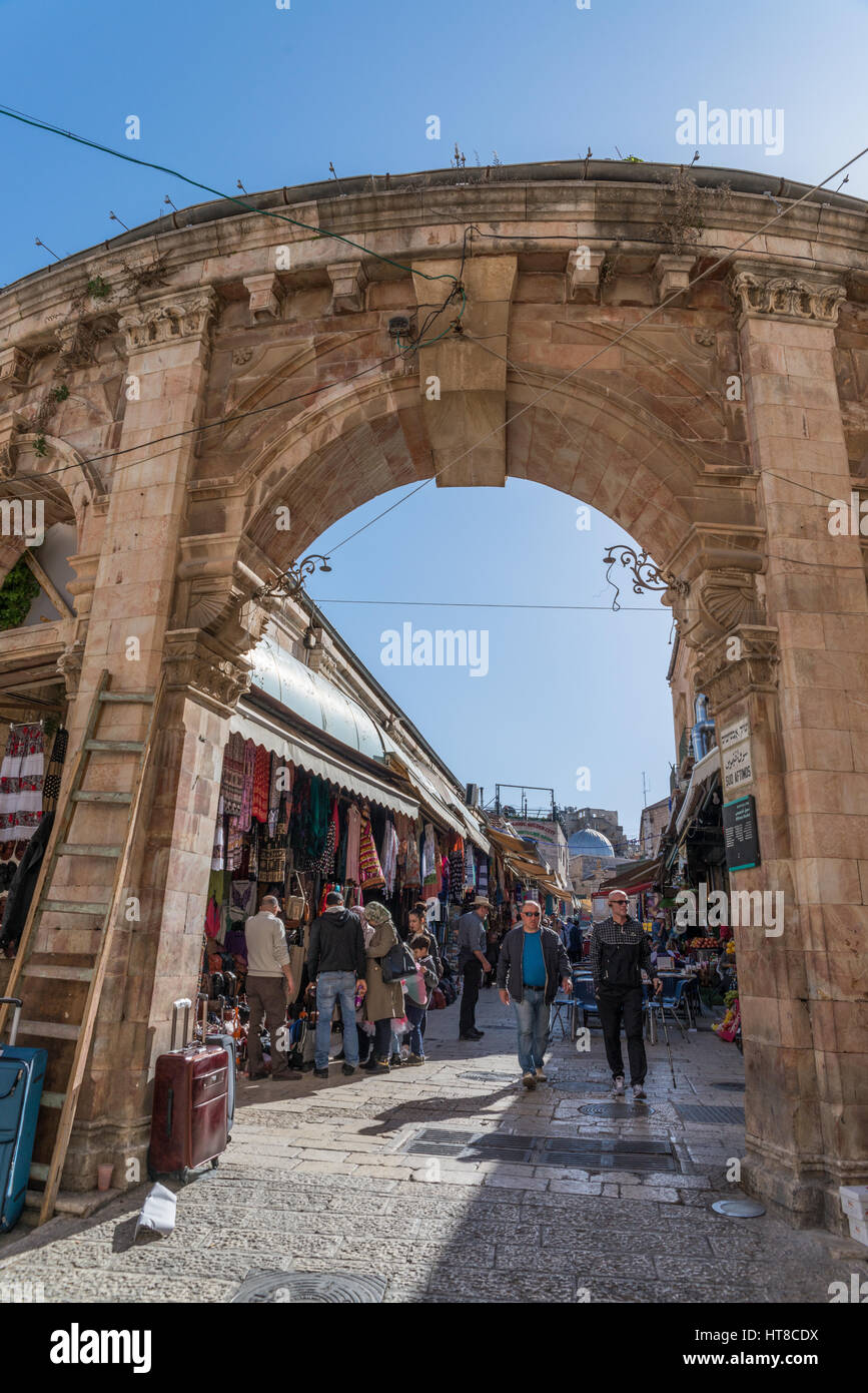 Old city jerusalem israel, gates to Christian Quarter - Stock Image
