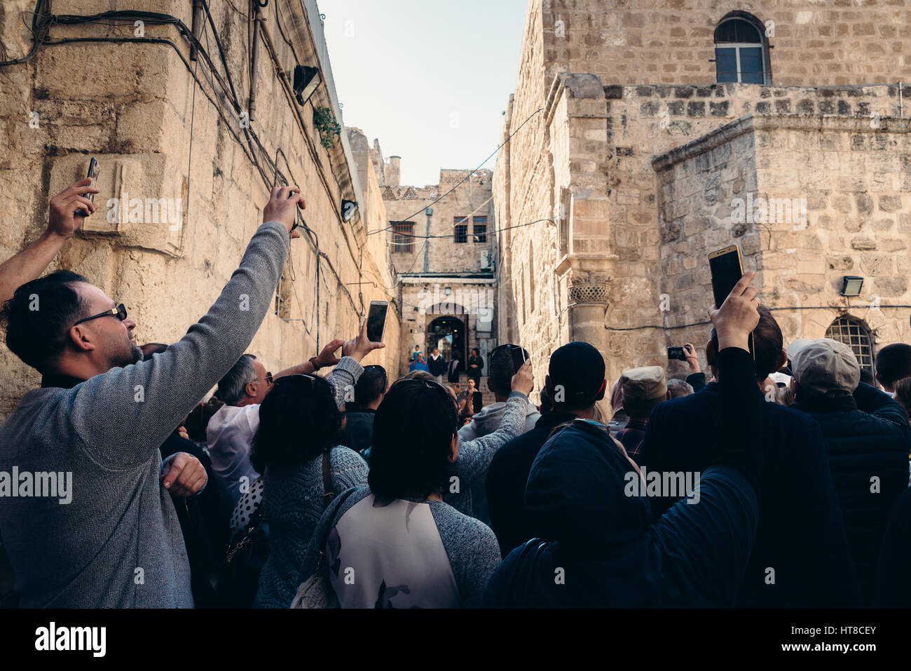 Tourists and locals in Jerusalem old city , Israel - Stock Image