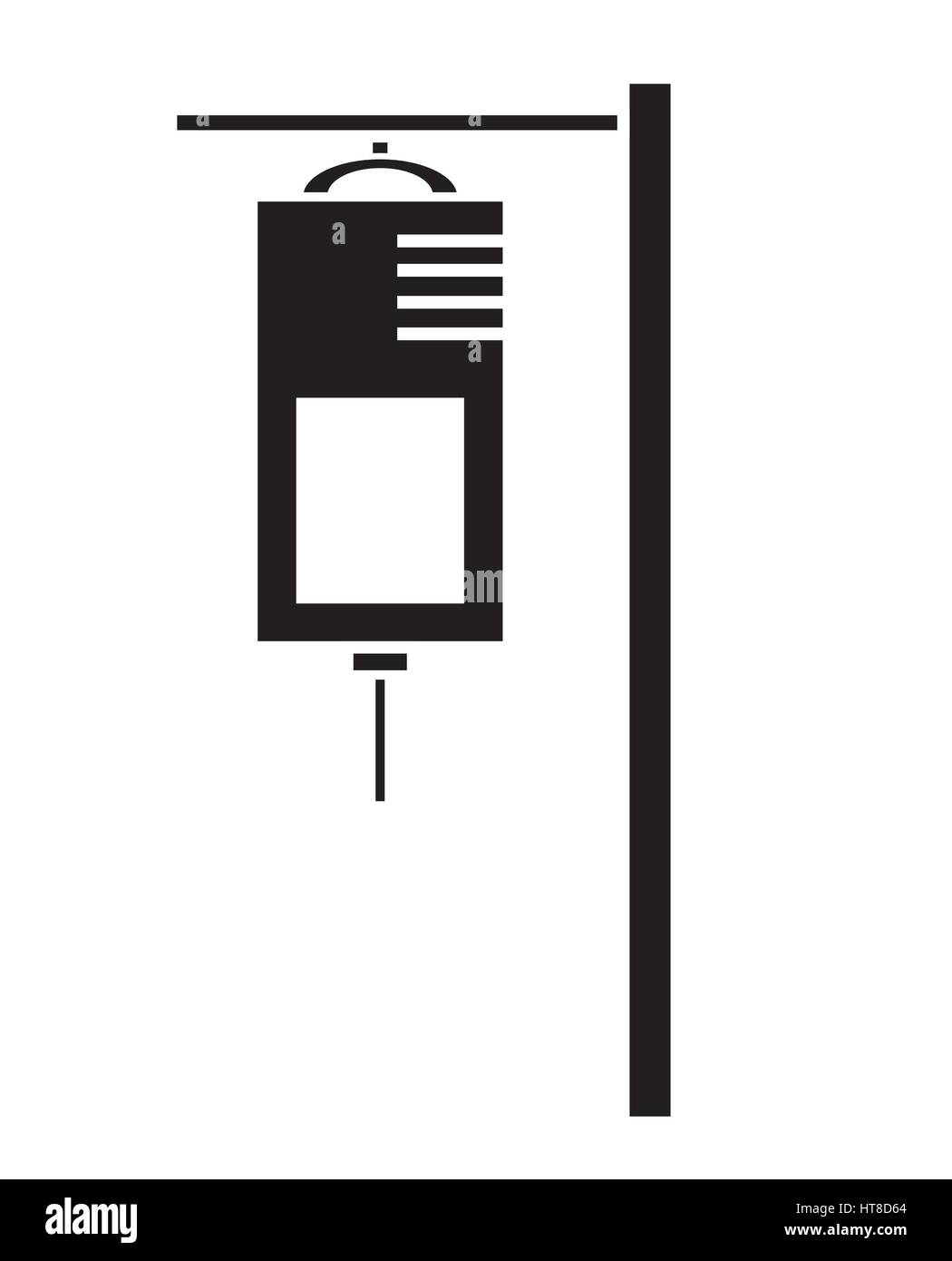 Black and white IV saline bag icon vector isolated in white background. Medical icons. - Stock Vector