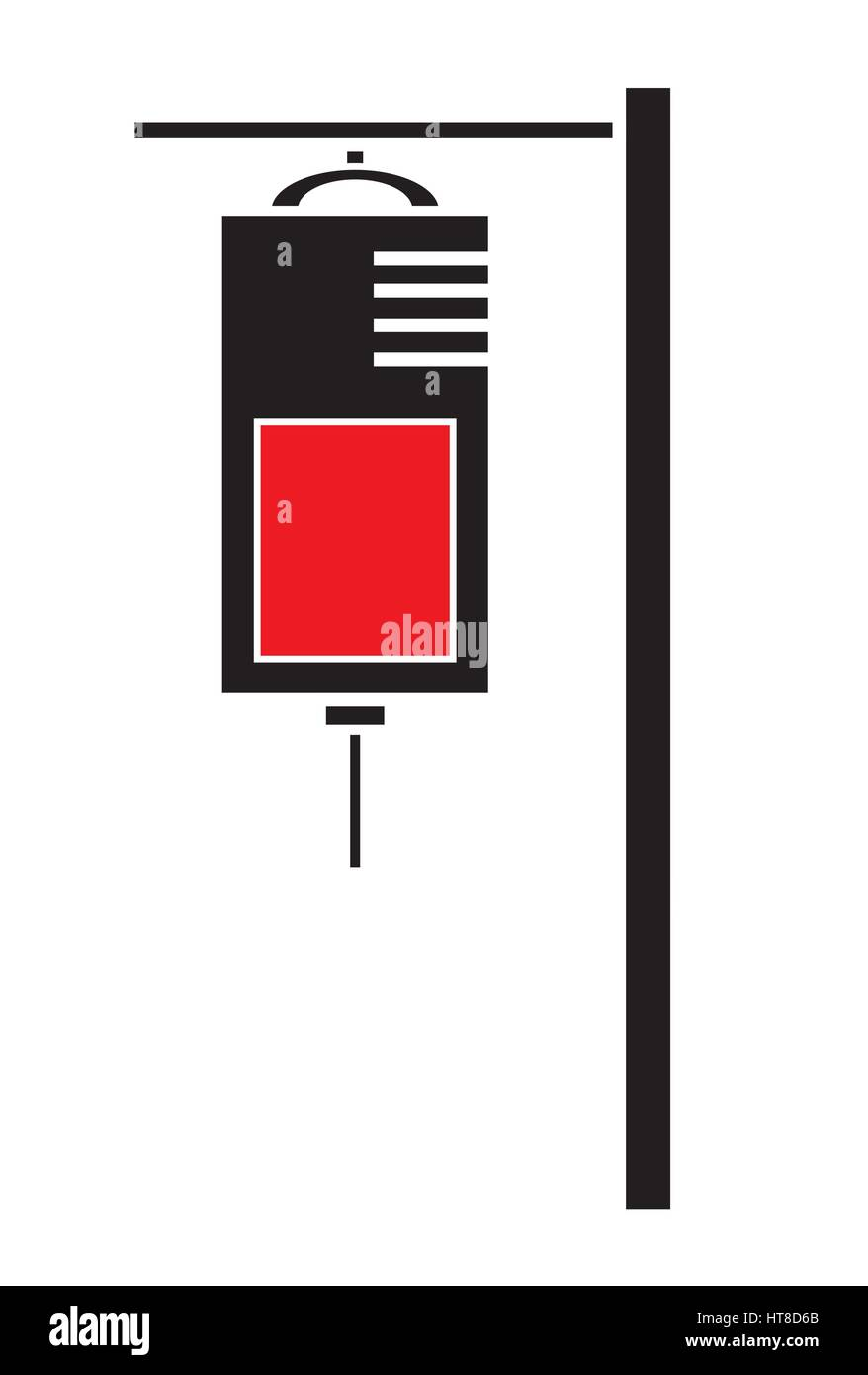 IV saline bag icon vector isolated in white background. Medical icons. - Stock Vector