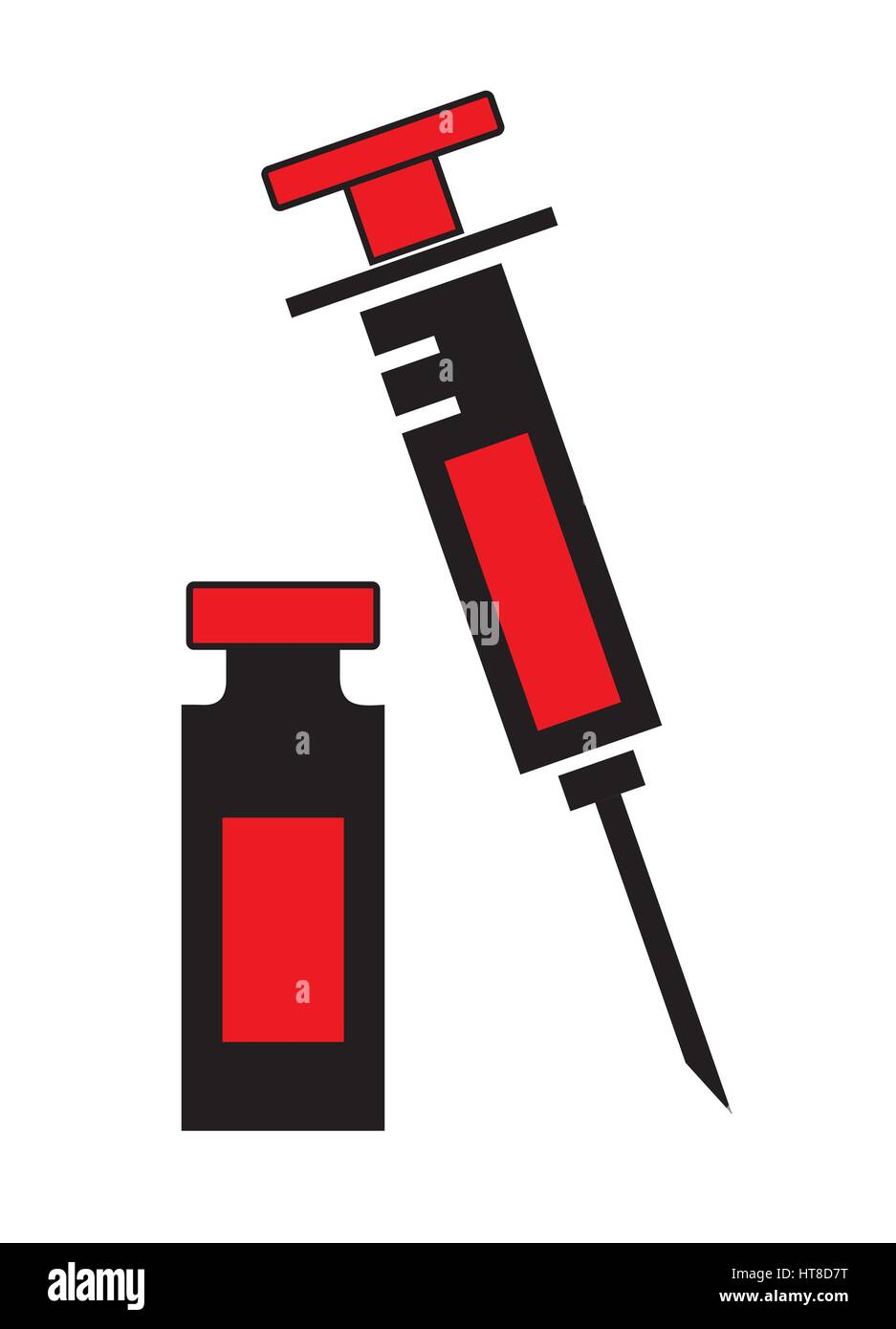 Syringe and vial bottle icon vector isolated in white background. Medical icons. - Stock Vector