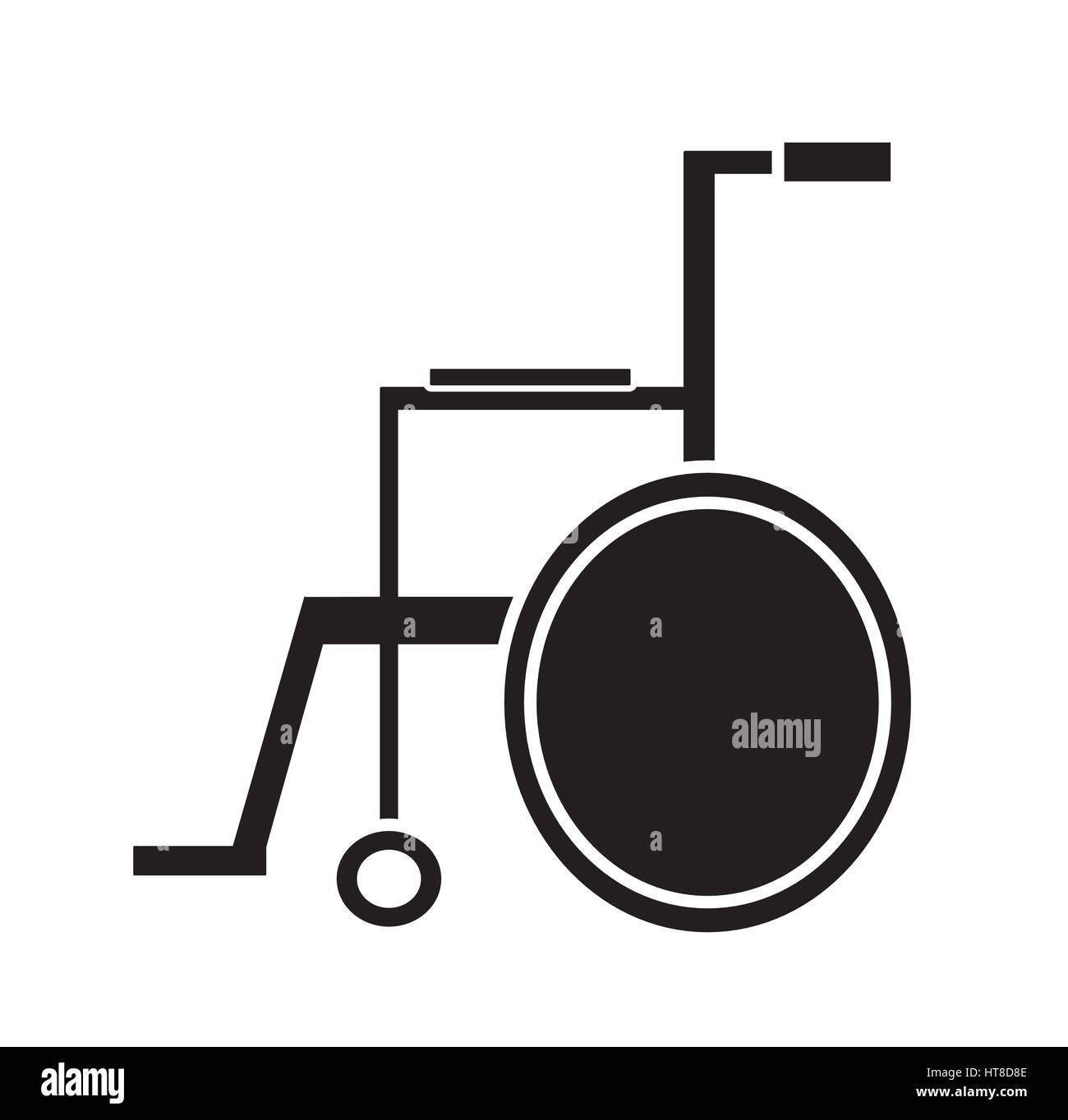 Black and white medical wheelchair icon vector isolated in white background. Medical icons. handicap chair wheel - Stock Image