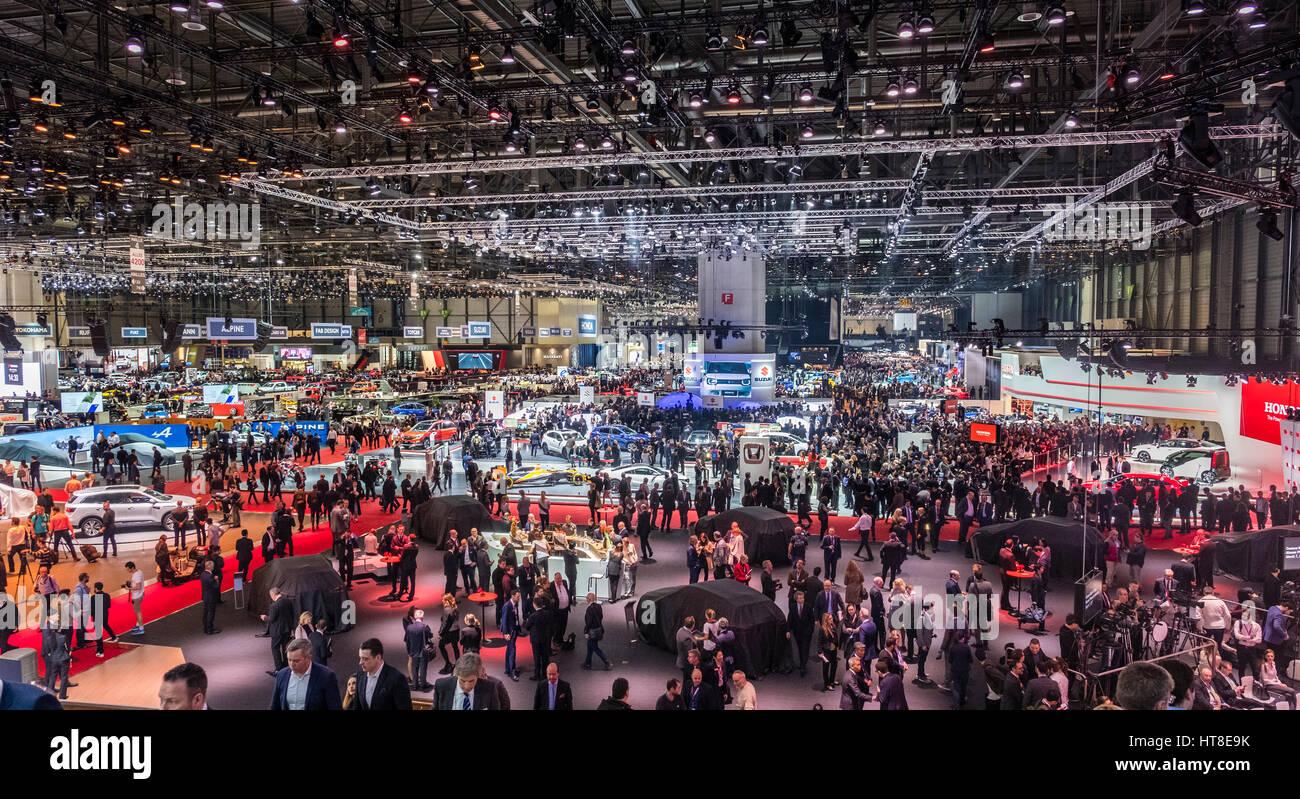View of exhibition hall at Geneva International Motor Show 2017 - Stock Image